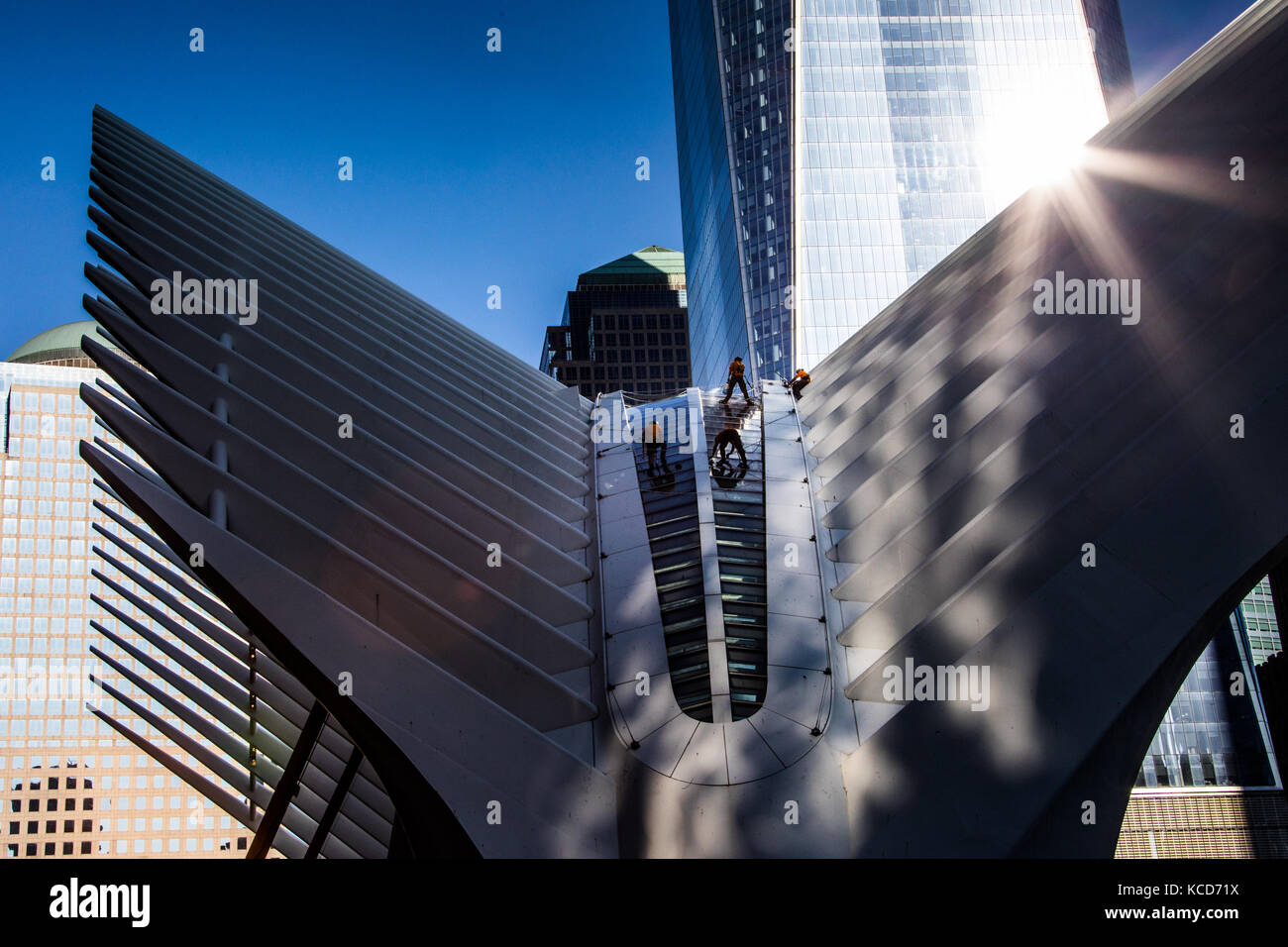 Window washers on the Oculus at World Trade Center, downtown Manhattan, New York - Stock Image