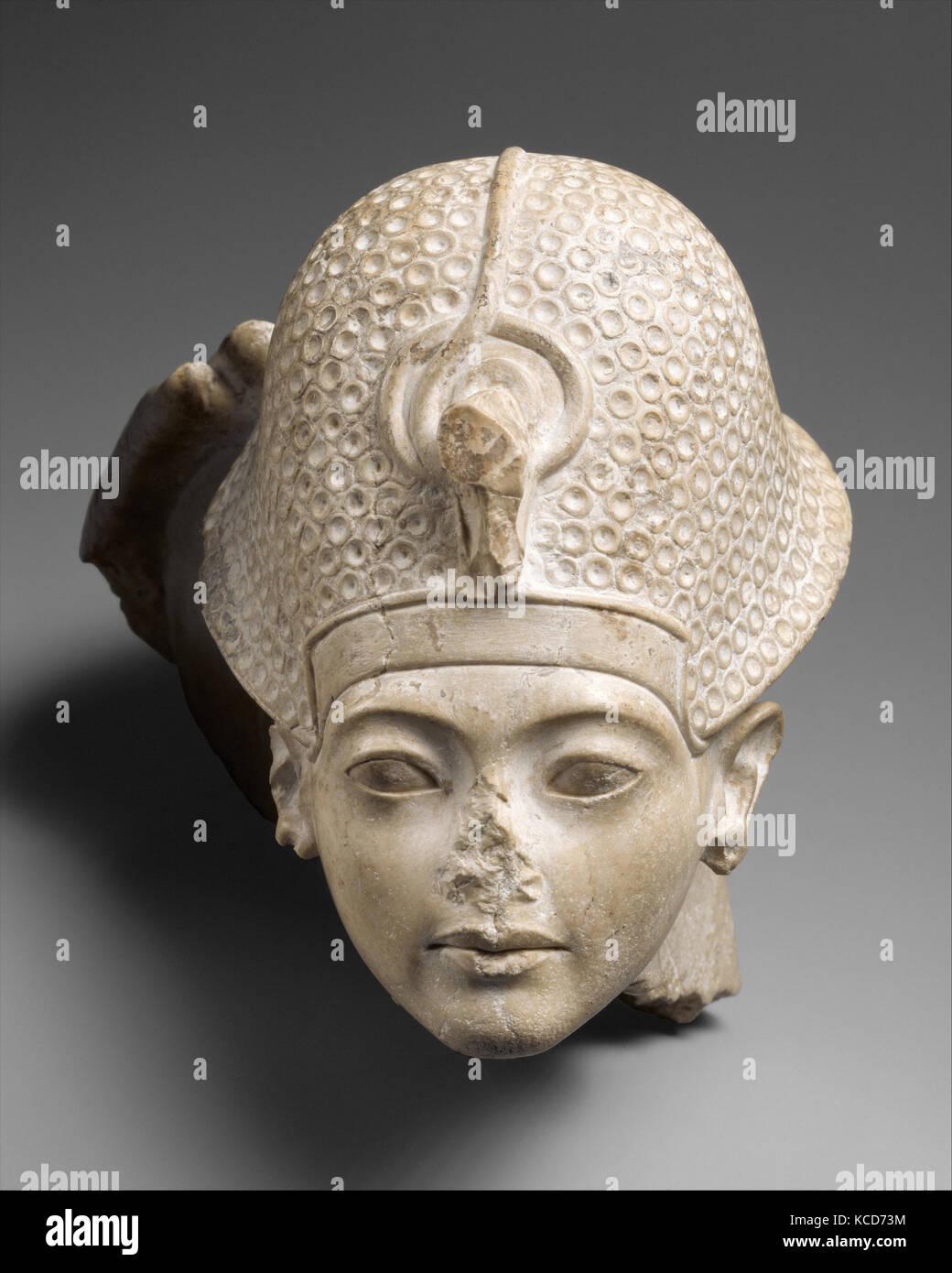 Head of Tutankhamun, New Kingdom, Amarna Period, Dynasty 18, ca. 1336–1327 B.C., From Egypt, Indurated Limestone, - Stock Image