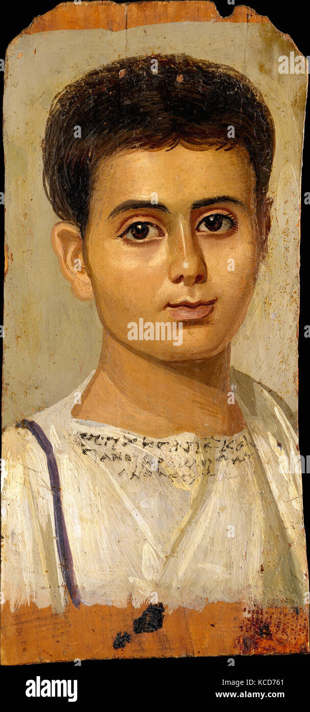 Portrait of the Boy Eutyches, Roman Period, A.D. 100–150, From Egypt, Encaustic on wood, paint, h. 38 cm (14 15/16 - Stock Image