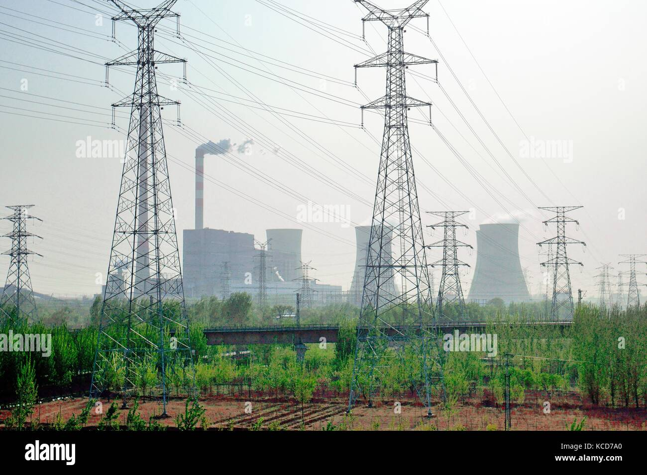 Chinese coal powered 1.3 MW electricity generating power station at Yangliuqing on west side of city of Tianjin, - Stock Image