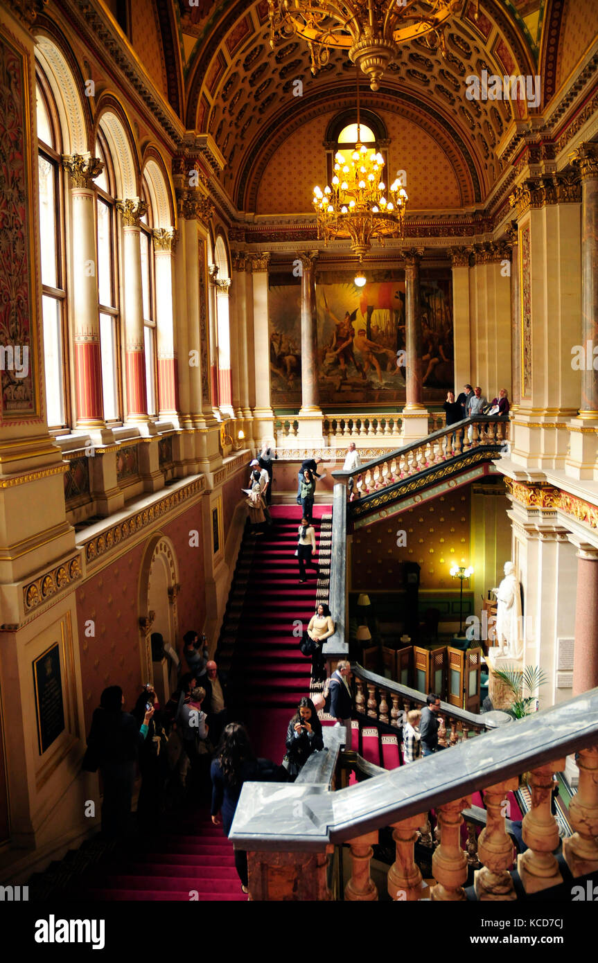 The Grand Staircase designed by Sir George Gilbert Scott at the Foreign and Commonwealth Office on King Charles Stock Photo
