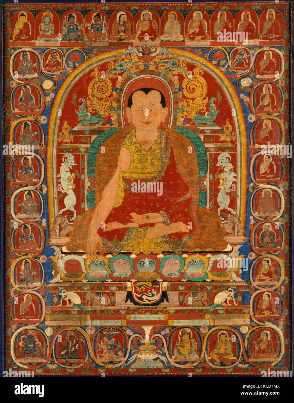 Lineage Portrait of an Abbot, ca. 1350, Central Tibet, Distemper on cloth, Overall: 30 3/8 x 23 1/2 in. (77.2 x - Stock Image