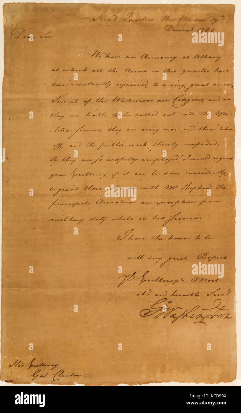 Letter from George Washington to New York Governor George Clinton, In the hand of Tench Tilghman, 1780 - Stock Image