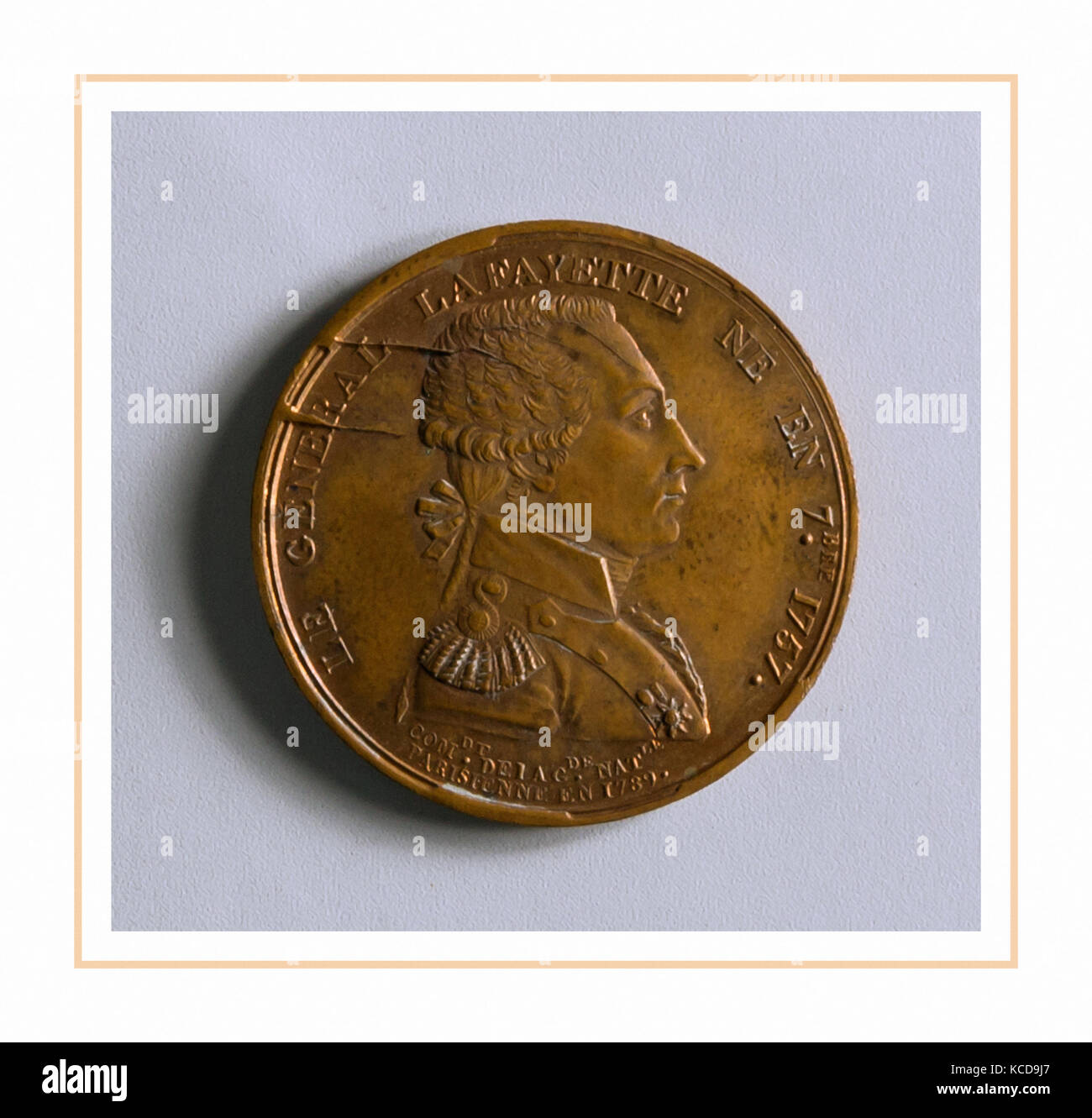 Medal of the Marquis de Lafayette, 1834 (?), Made in France, Bronze, Diam. 1 1/4 in. (3.2 cm), Metal - Stock Image