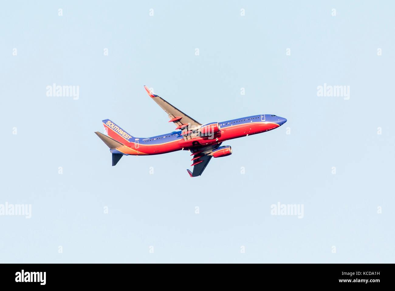 BOSTON USA 06.09.2017 - Southwest Airlines Boeing 737start takeoff at Logan International Airport Stock Photo