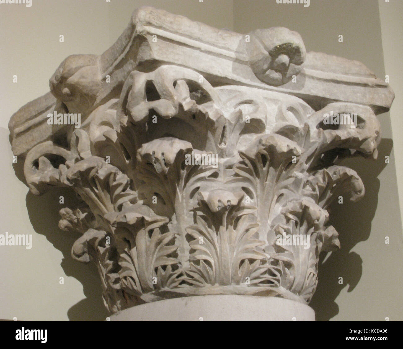 Capital with Acanthus Leaves, 4th century, Made in Egypt, Marble, Sculpture, Marble was often imported from quarries - Stock Image
