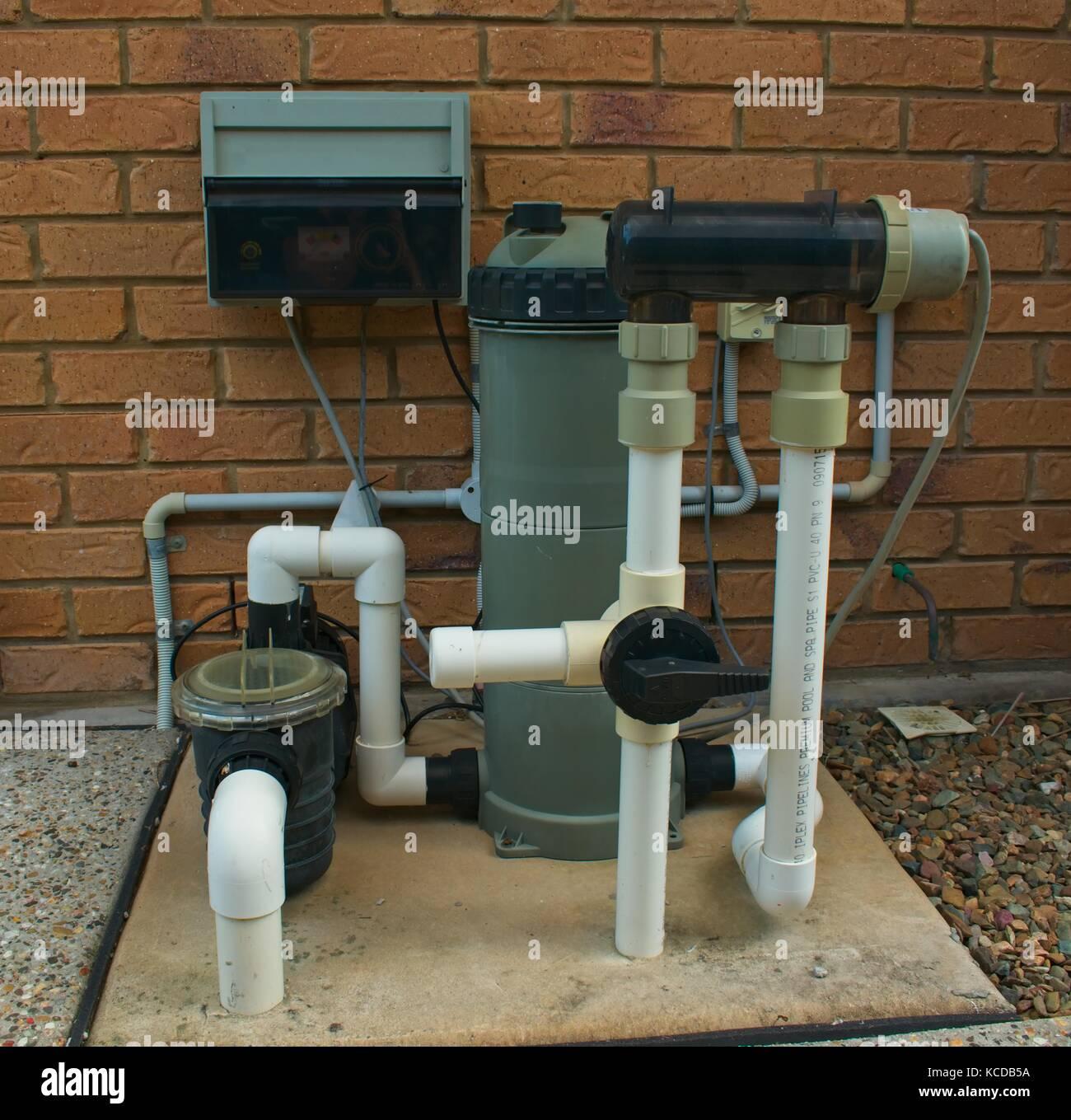 pump filter and clorinator setup for swimming pool stock photo 162563334 alamy. Black Bedroom Furniture Sets. Home Design Ideas