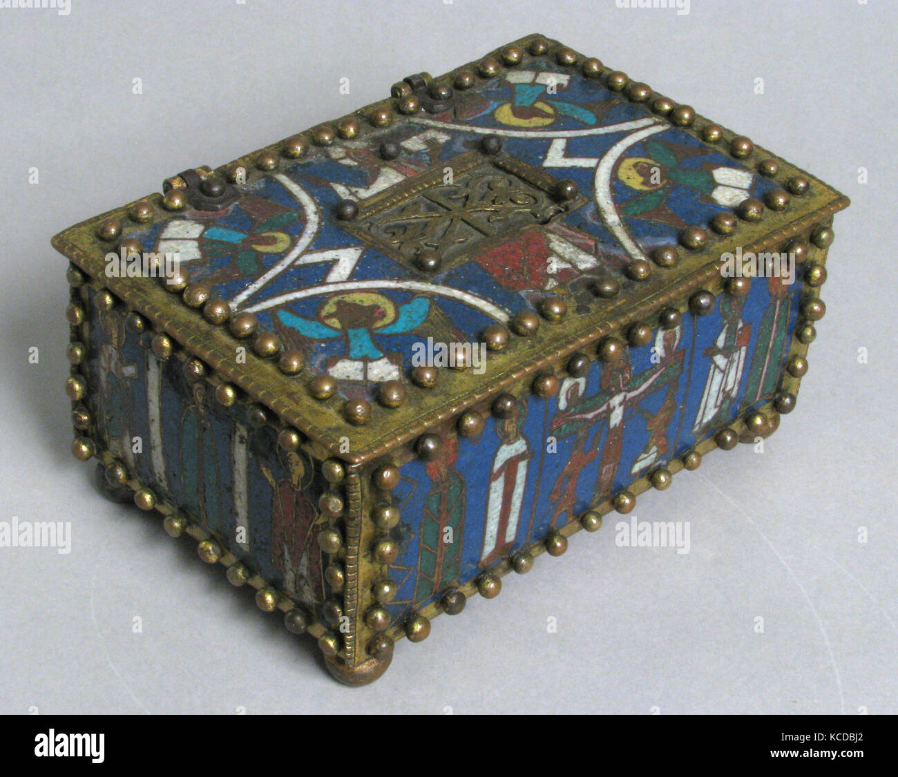 Casket or Portable Altar with the Crucifixion, Standing Saints, and Christ in Majesty with Symbols of the Evangelists, - Stock Image