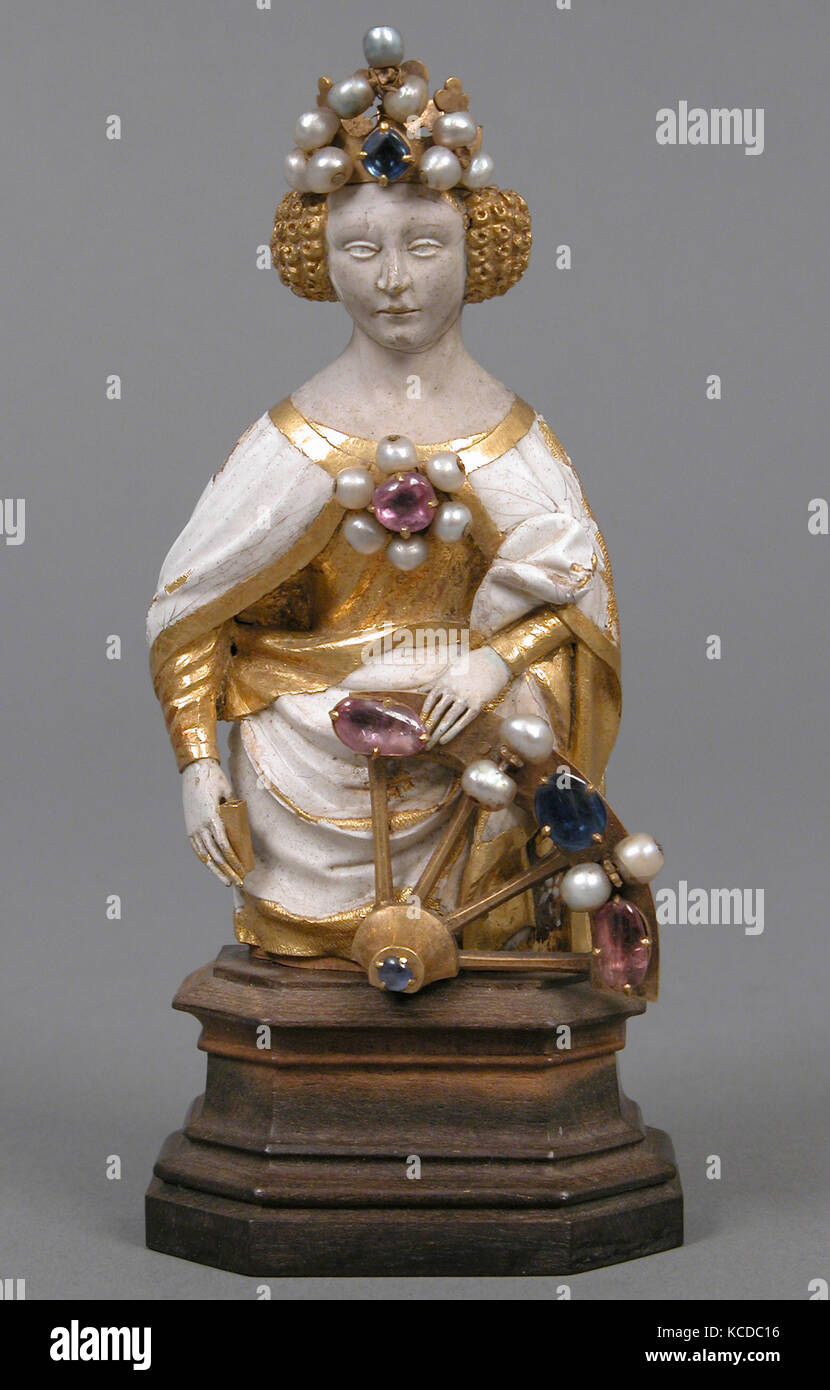 Saint Catherine of Alexandria, early 15th century, French, Gold, ronde-basse enamel, jewels, Overall (without wooden - Stock Image
