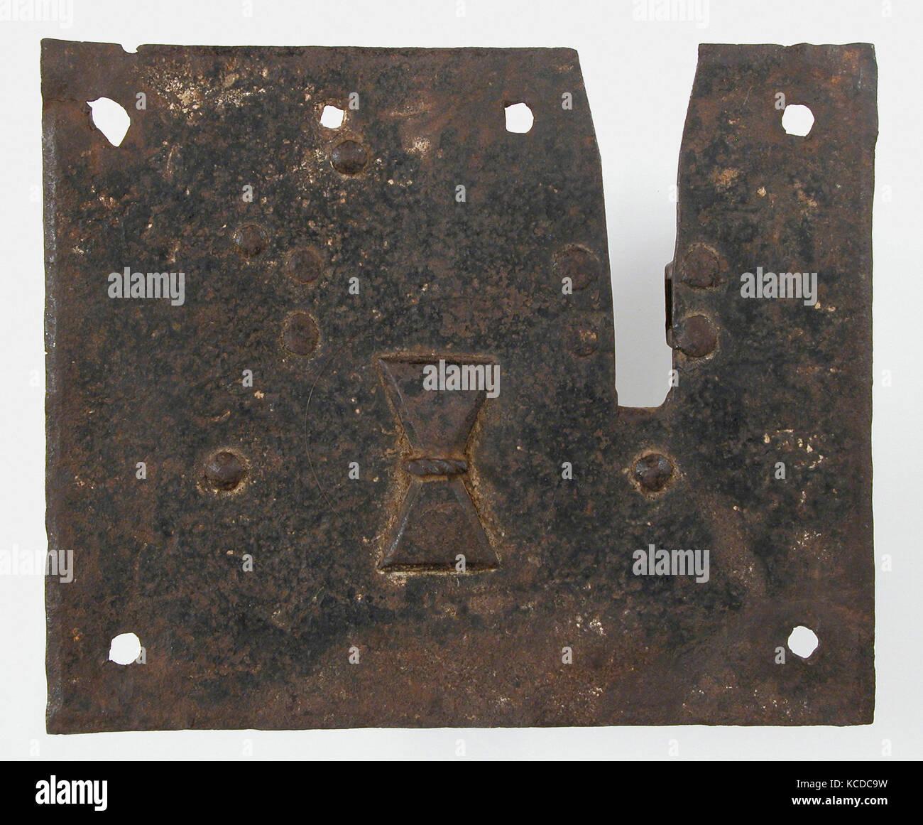 Lock, 16th century, Italian, Iron, Overall: 5 11/16 x 6 15/16 x 2 1/2 in. (14.5 x 17.6 x 6.3 cm), Metalwork-Iron Stock Photo