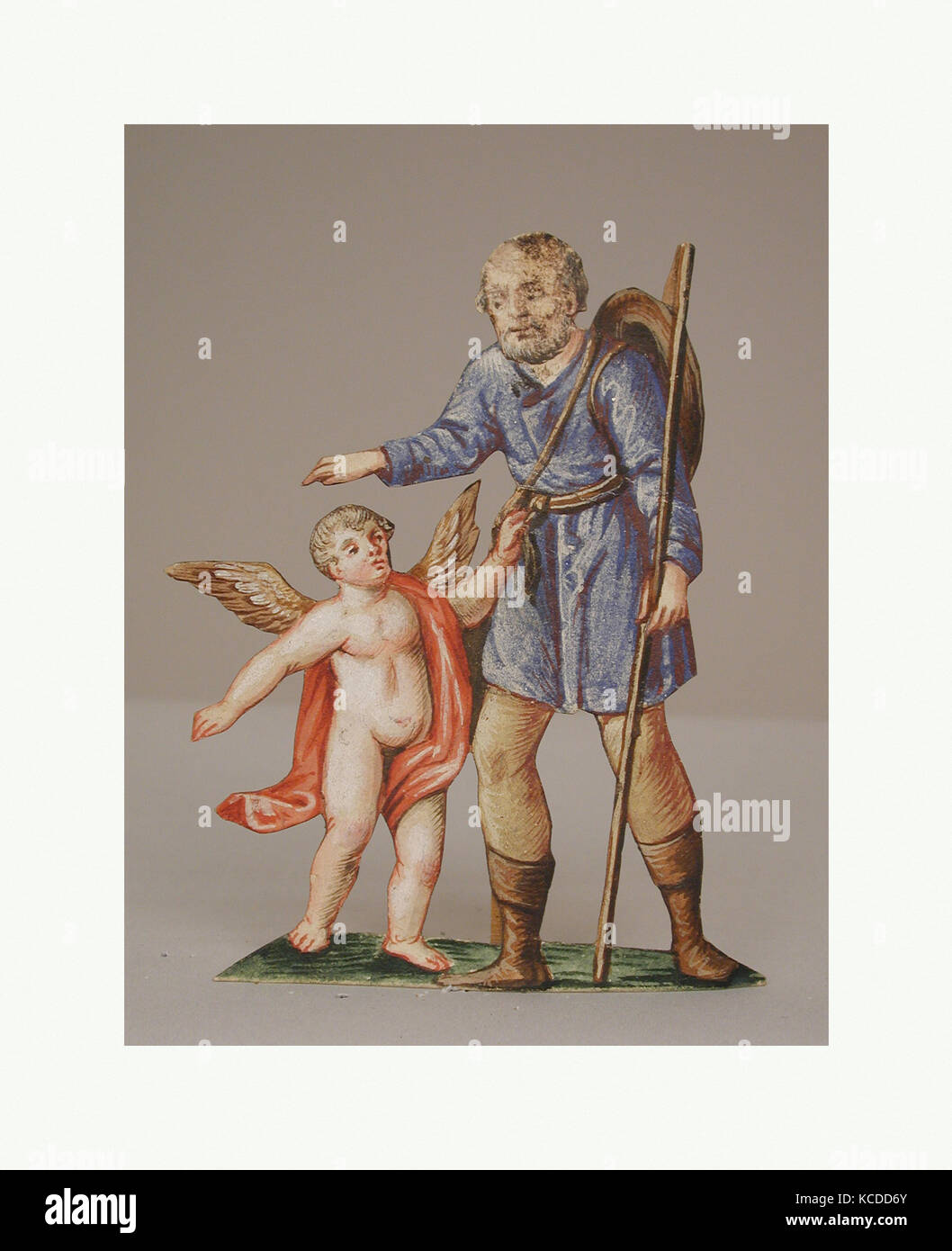 The Nativity, 18th century, Southern German, Gouache on paper, Ave.: 4 in. (10.2 cm), Paper - Stock Image