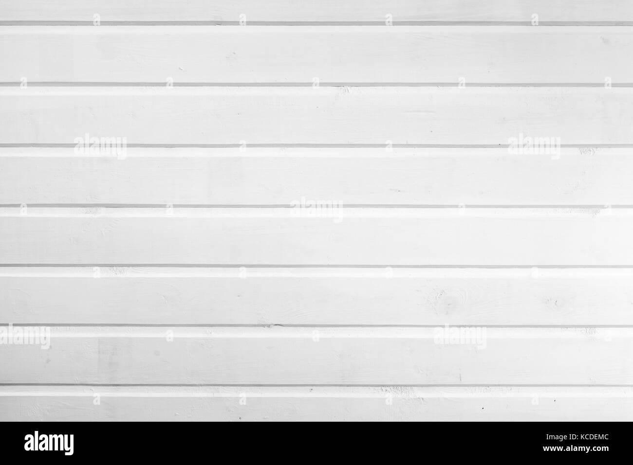 Natural wooden wall made of planks painted in white, flat background photo texture - Stock Image