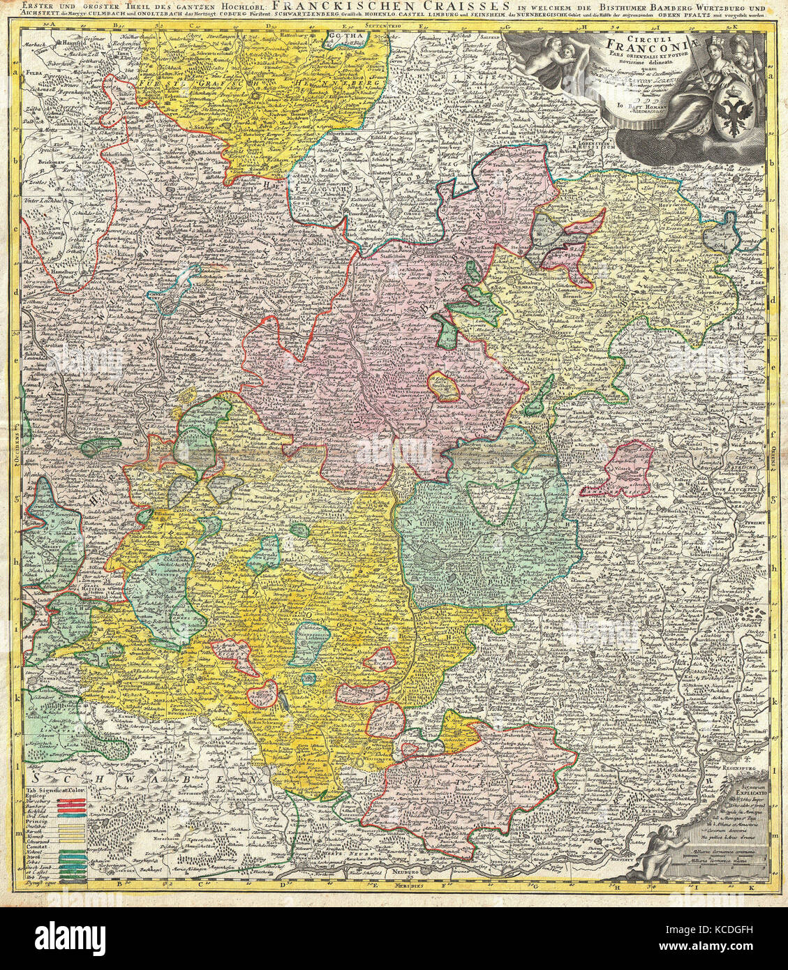 1720, Homann Map of Franconia, Germany, Bavaria, Bamberg, Würtzburg, Nuremberg Stock Photo