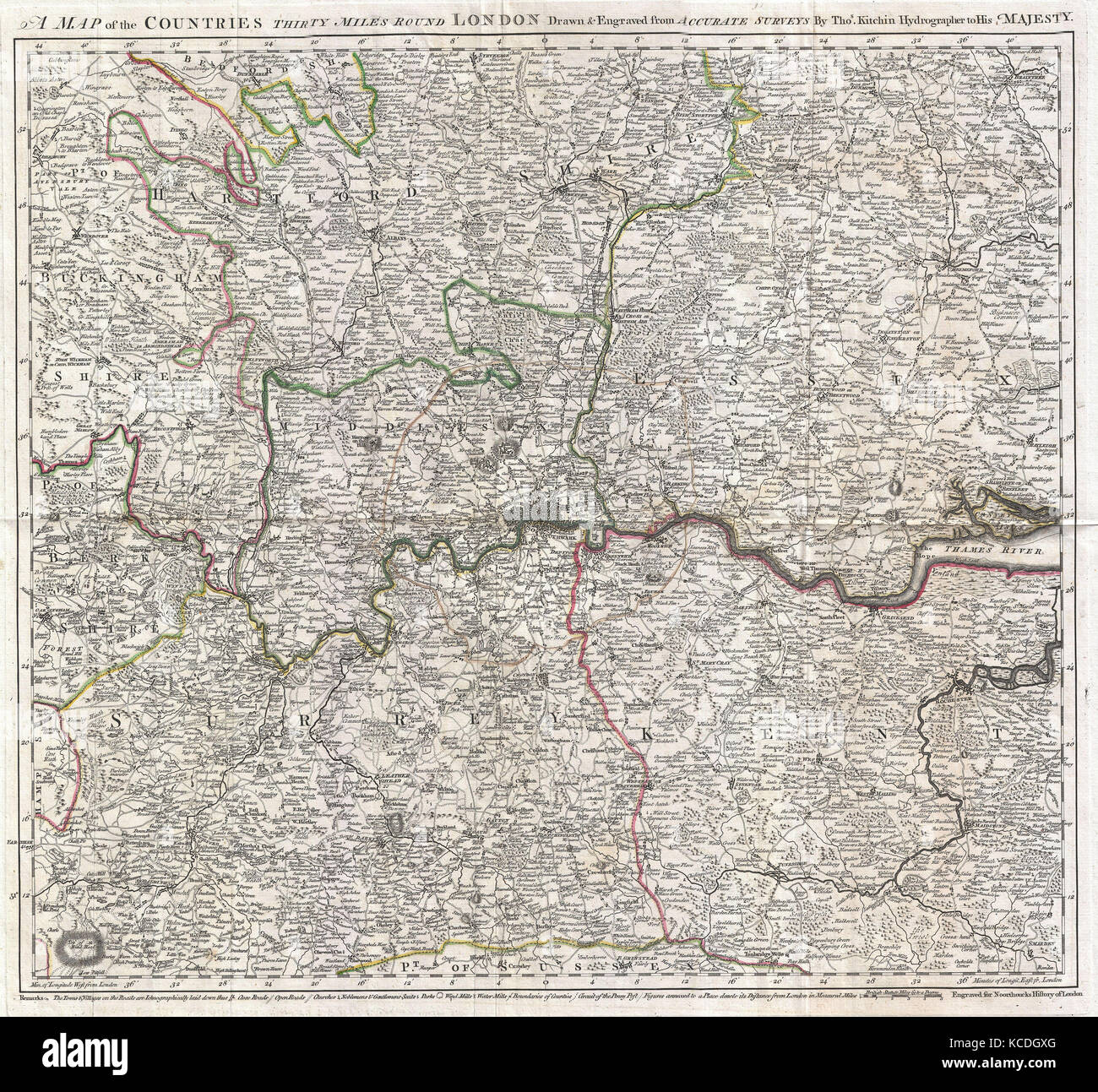 Kitchin map stock photos kitchin map stock images alamy 1773 kitchin map of the country 30 miles around london england stock image freerunsca Image collections