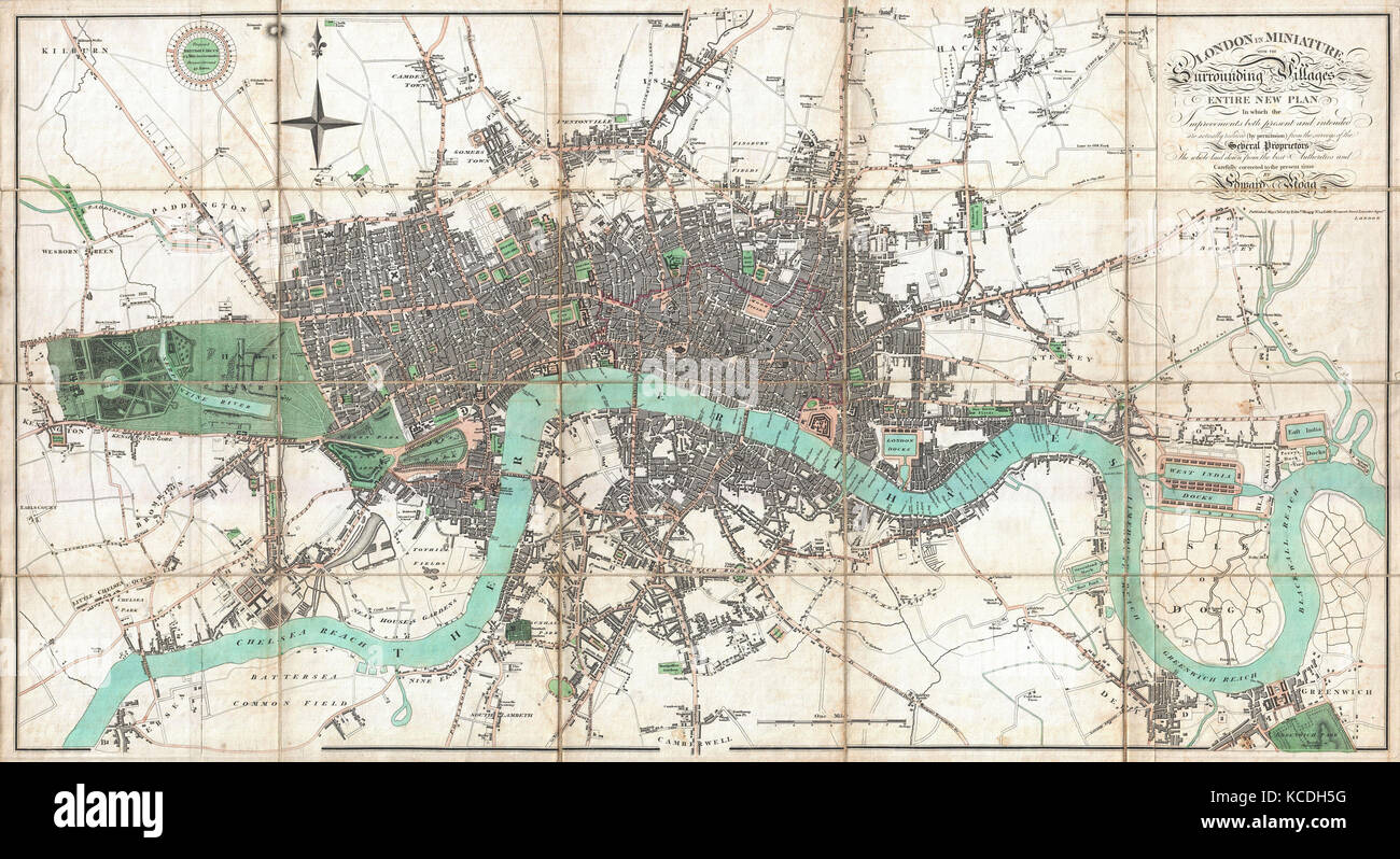1806, Mogg Pocket or Case Map of London, England - Stock Image