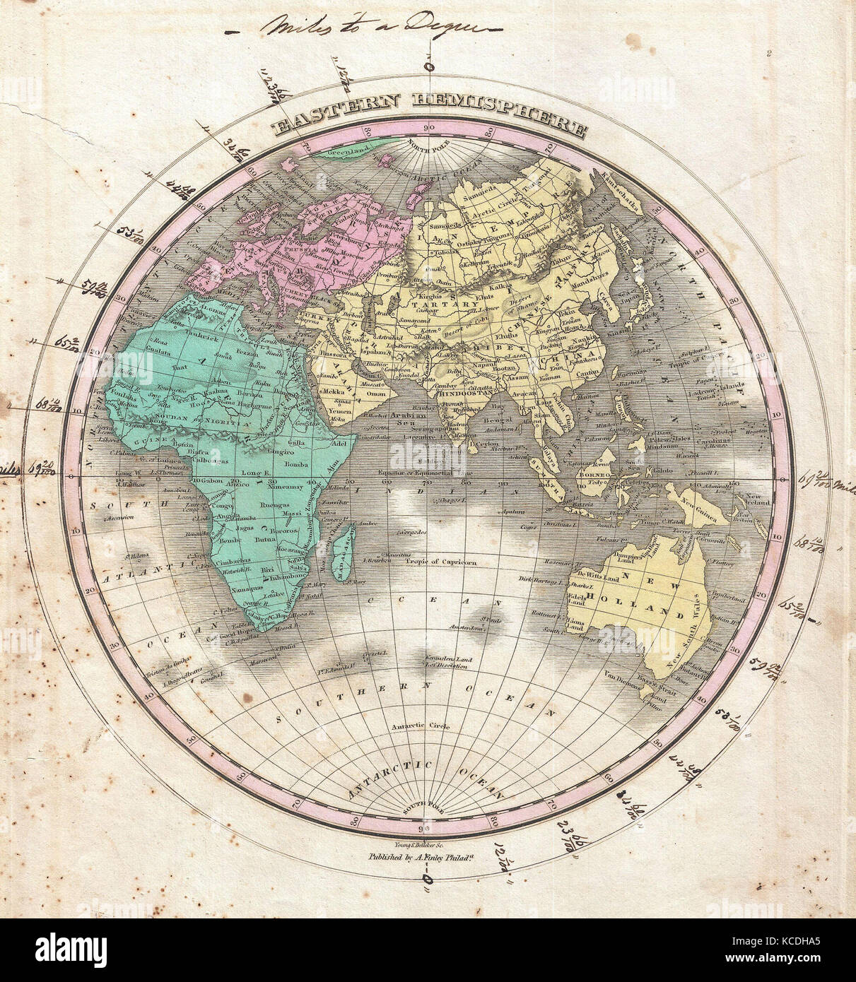 Attractive 1827, Finley Map Of The Eastern Hemisphere, Asia, Australia, Europe,  Africa, Anthony Finley Mapmaker Of The United States