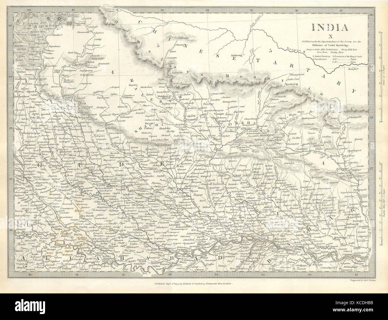 1834, S.D.U.K. Map of North India, Nepal, and Allahabad - Stock Image