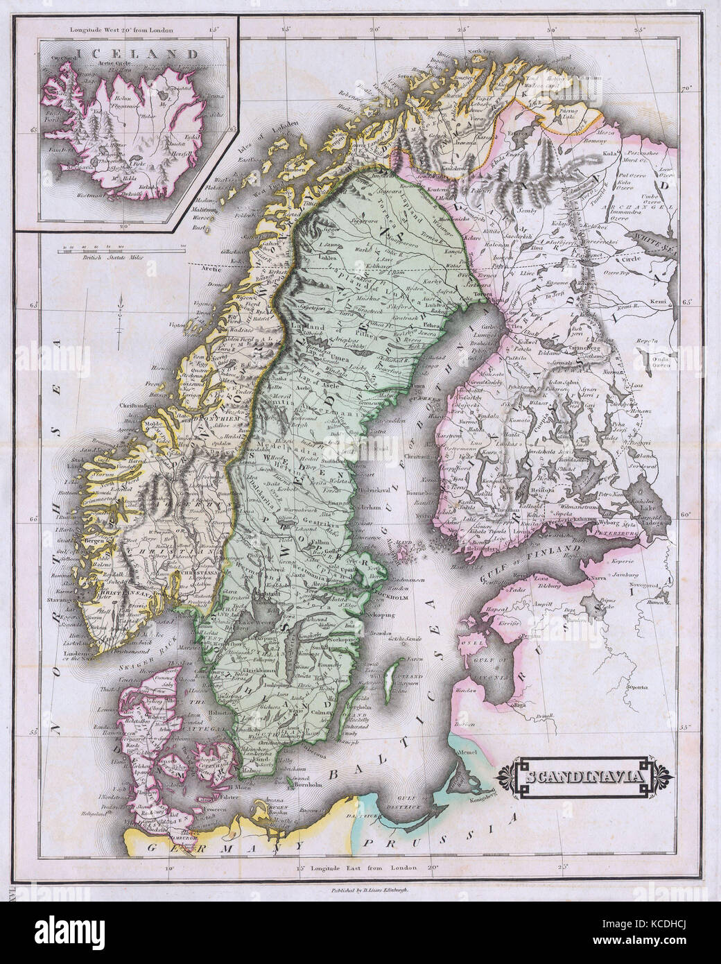 Antique map of iceland stock photos antique map of iceland stock 1840 lizars map of scandinavia norway sweden finland denmark iceland gumiabroncs Choice Image