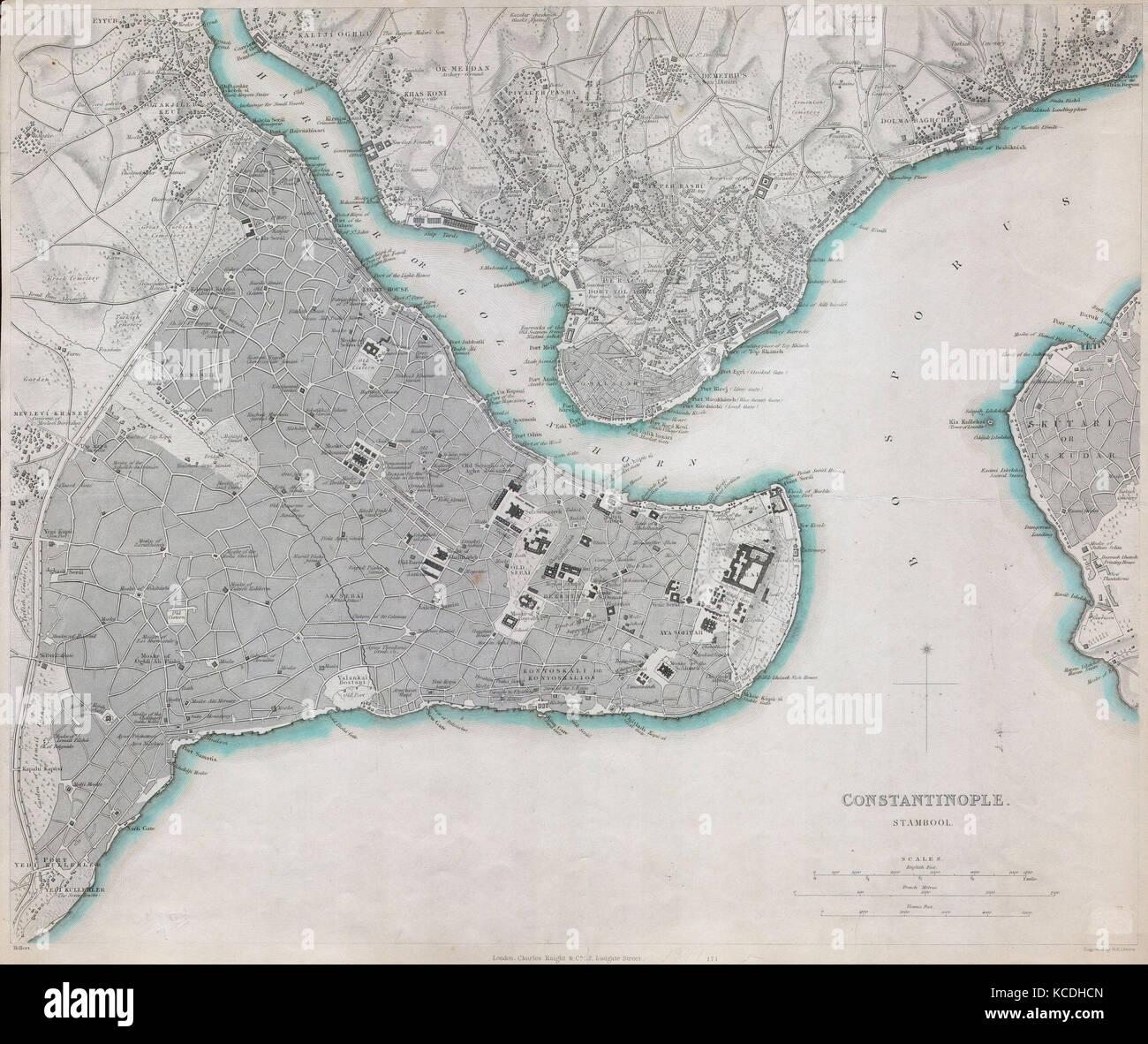 1840 S D U K Map Of Constantinople Istanbul Turkey Stock Photo