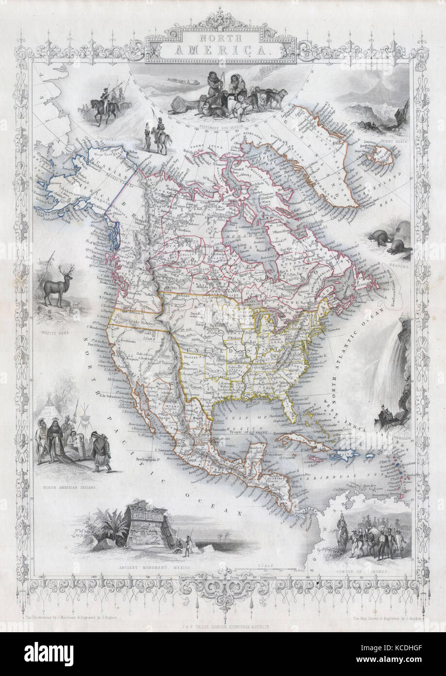 1850, Tallis Map of North America, Texas at fullest - Stock Image