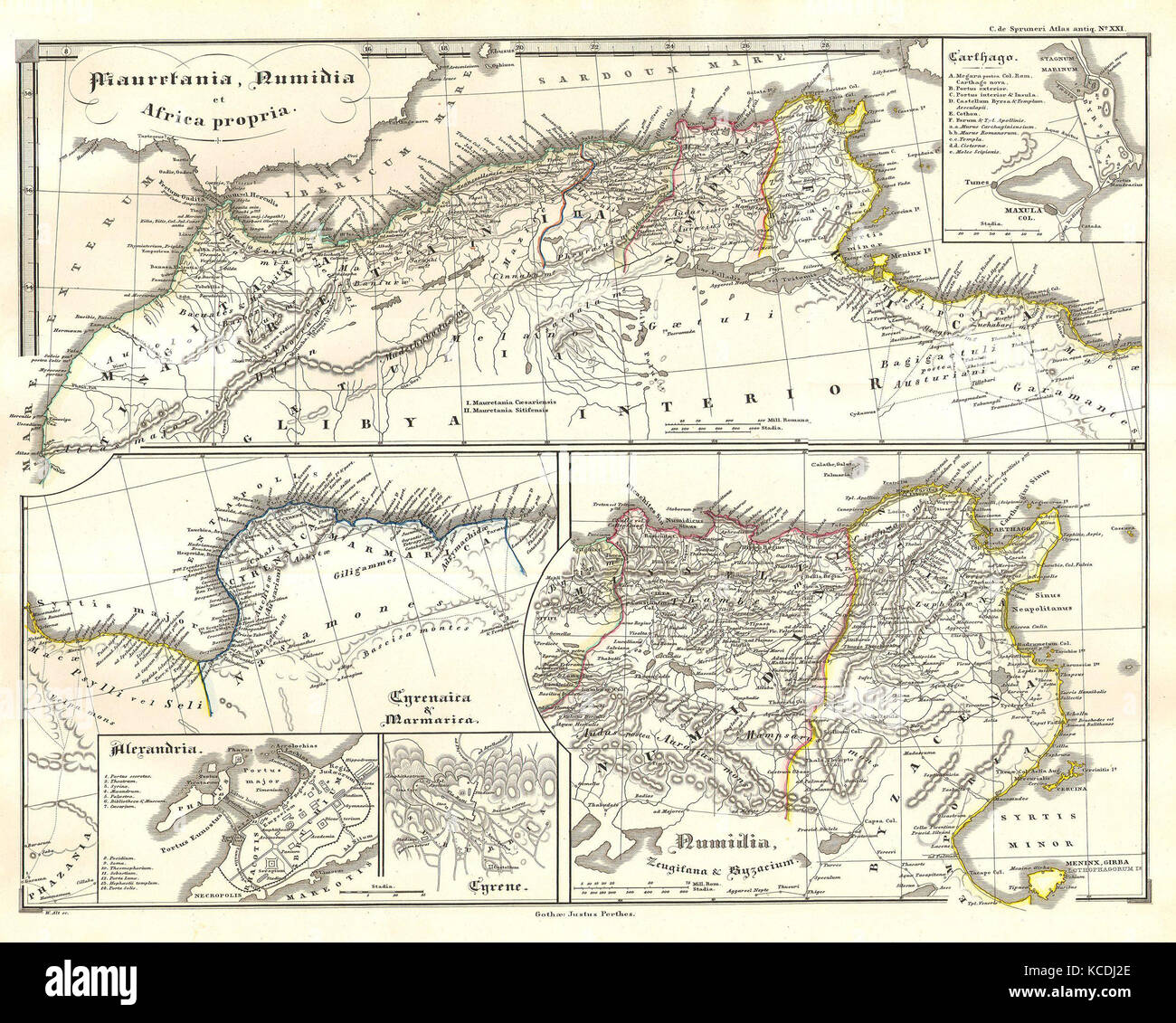 1855, Spruneri Map of North Africa in Ancient Times, Carthage, Numidia, Alexandria - Stock Image