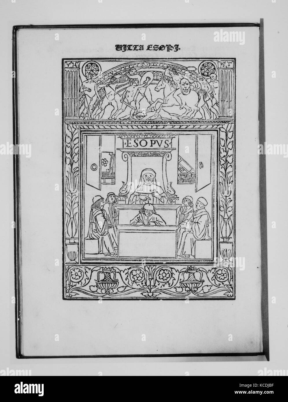 Vita Aesopi, March 27, 1492, Printed book with woodcut illustrations., Books - Stock Image