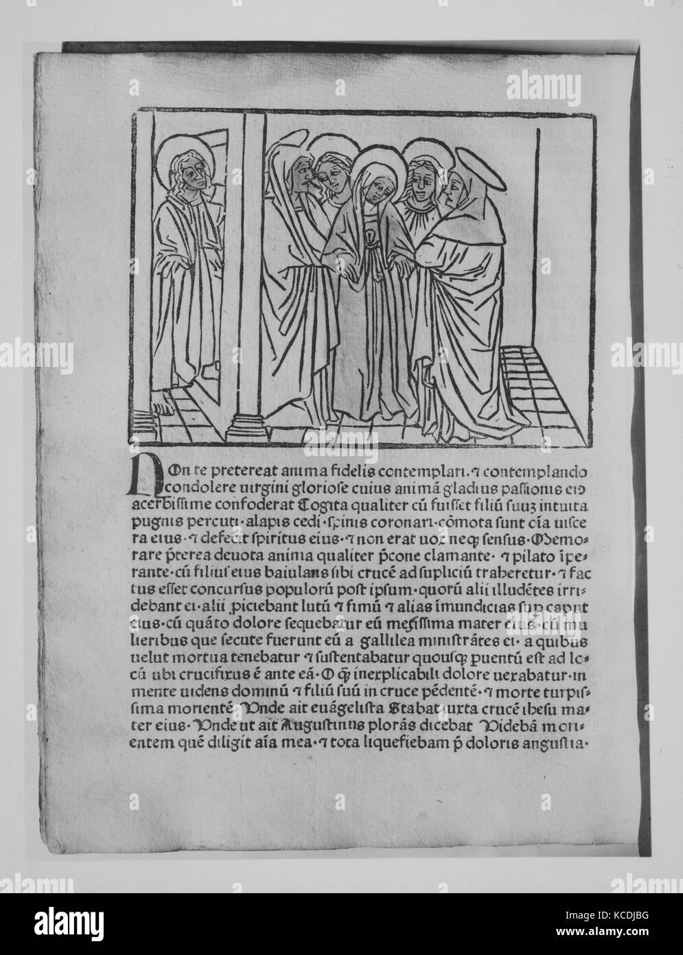 Meditationes, October 17, 1473, Printed book with woodcut illustrations, 11 7/8 × 9 5/8 × 1 3/16 in. (30.2 - Stock Image