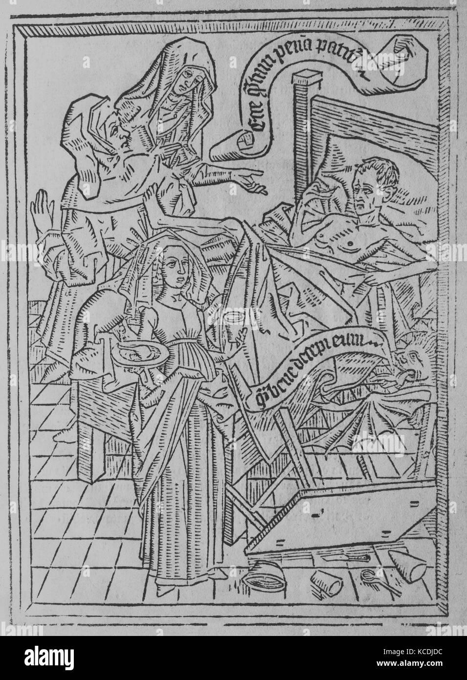Ars Moriendi, ca. 1475, Woodcuts, Overall: 11 x 7 7/8 x 1/4 in. (28 x 20 x 0.6 cm), Books - Stock Image