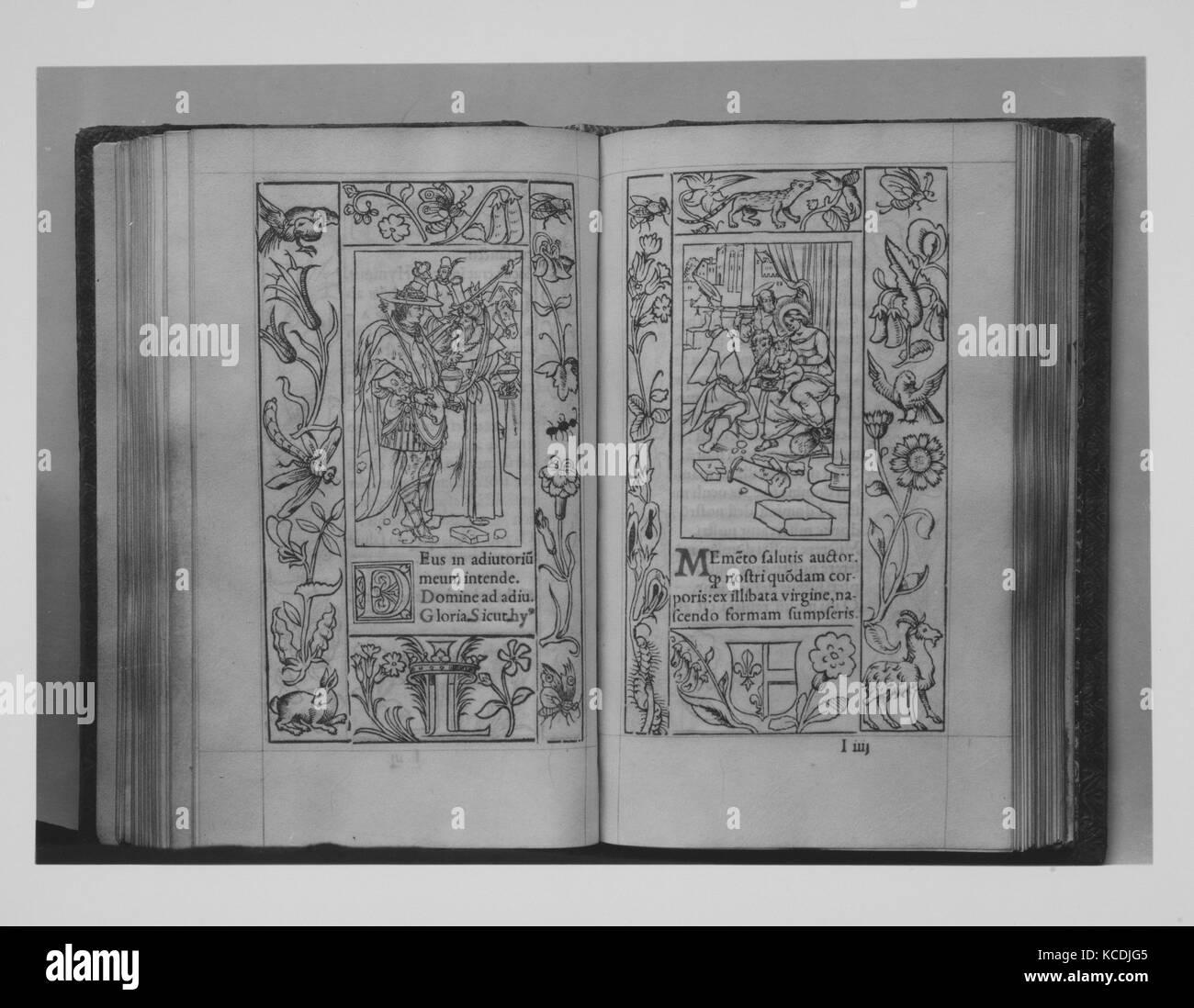 Horae in Laudem B V M ad usum Romanum, 1541, Woodcuts, Books - Stock Image