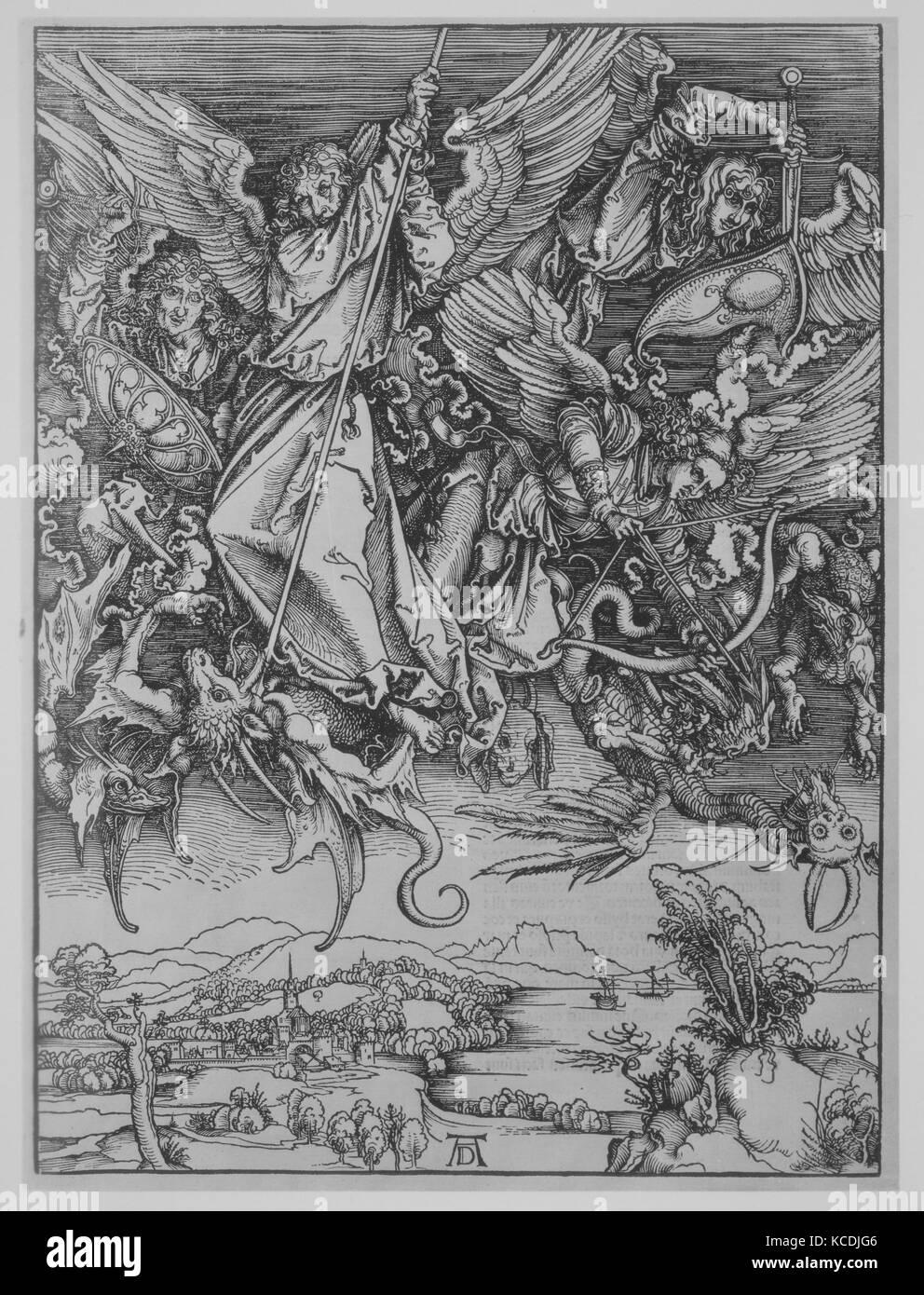 Apocalypsis cu Figuris, 1511, Woodcuts, 18 1/8 × 12 5/8 × 1/2 in. (46 × 32 × 1.3 cm), Books - Stock Image