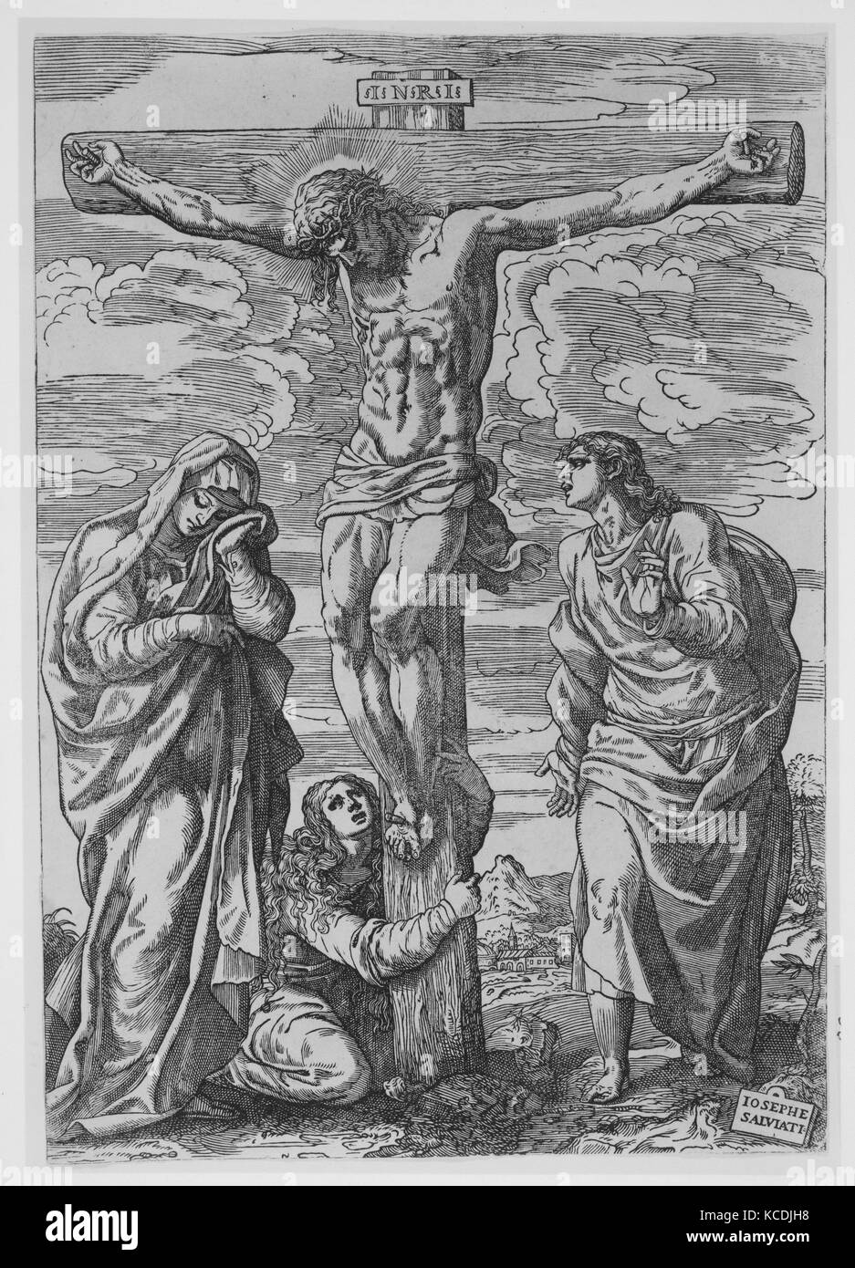 Crucifixion, 1556, Woodcut, Sheet: 12 3/16 × 8 3/8 in. (31 × 21.2 cm), Prints, Giuseppe Salviati (Giuseppe - Stock Image