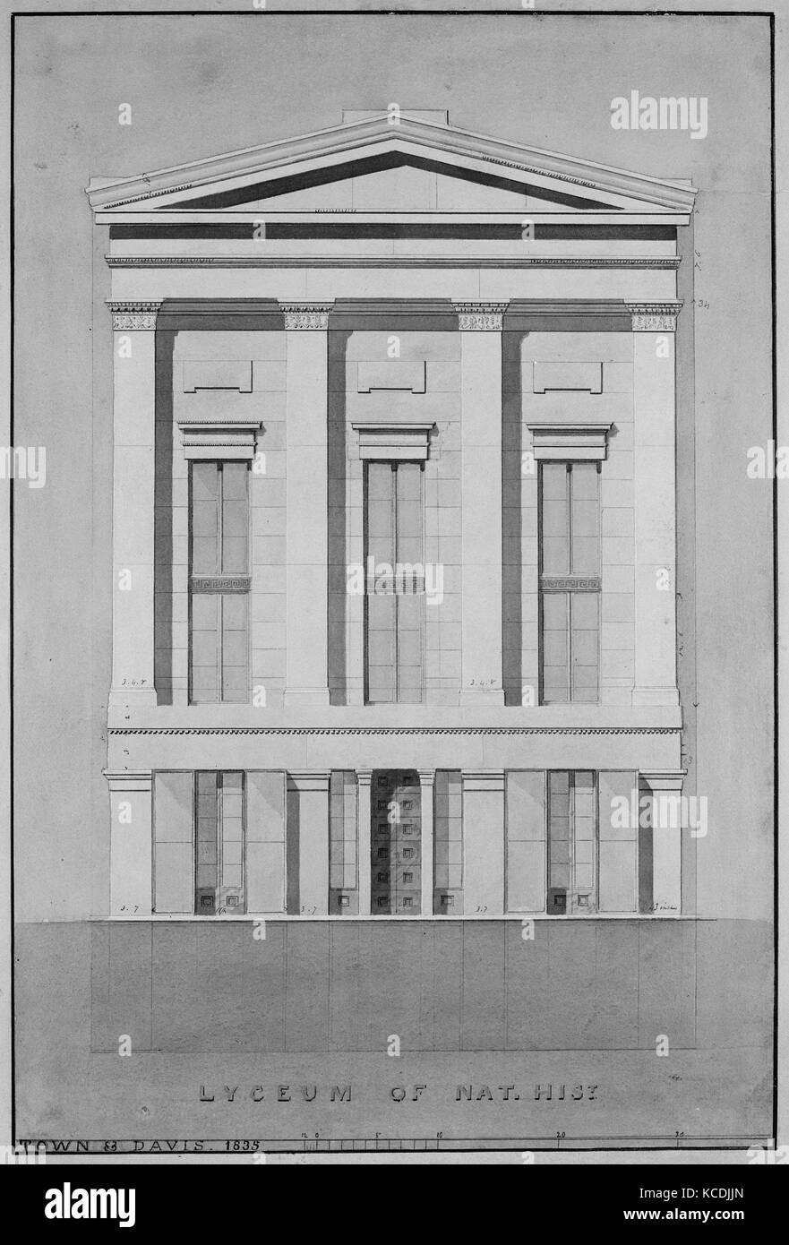 Lyceum of Natural History, New York (front elevation), Alexander Jackson Davis, 1835 - Stock Image