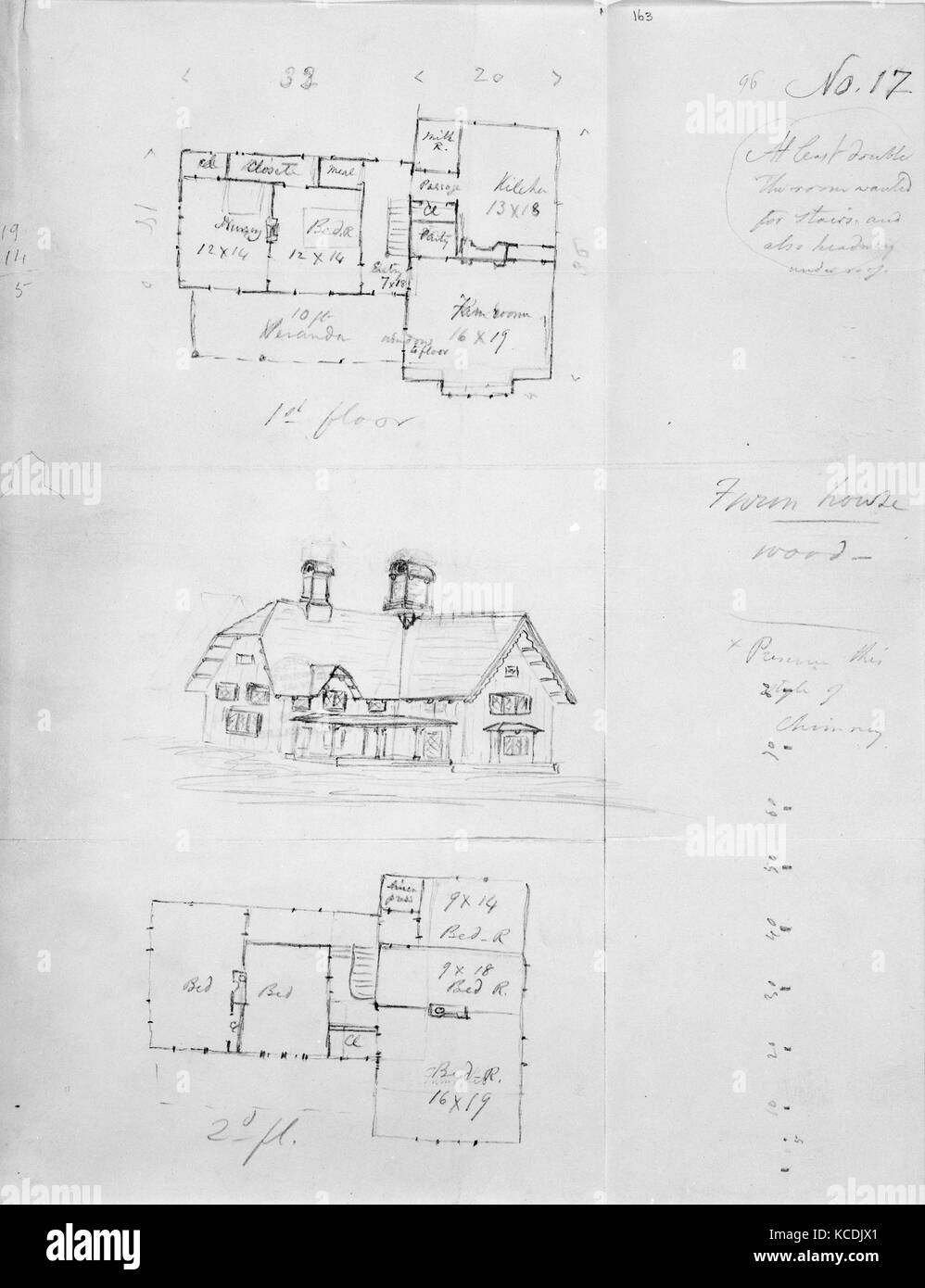 Design for Bracketed American Farm House, Design XVII from The Architecture of Country Houses, Alexander Jackson - Stock Image