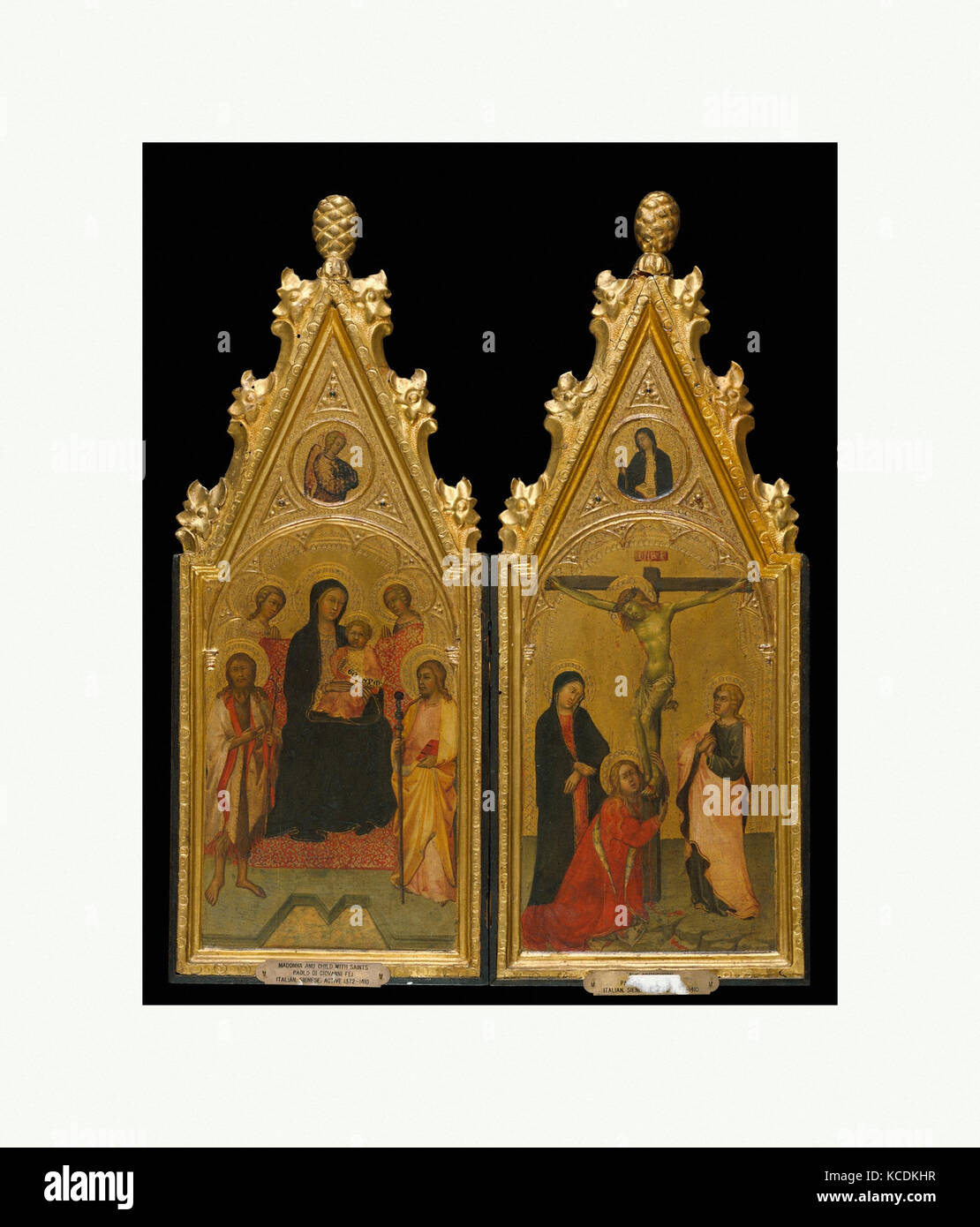 Diptych with tabernacle frames, ca. 1400–1410, Sienese, Poplar. Carved, gilt; red-orange bole., Overall, left, 46.5 - Stock Image