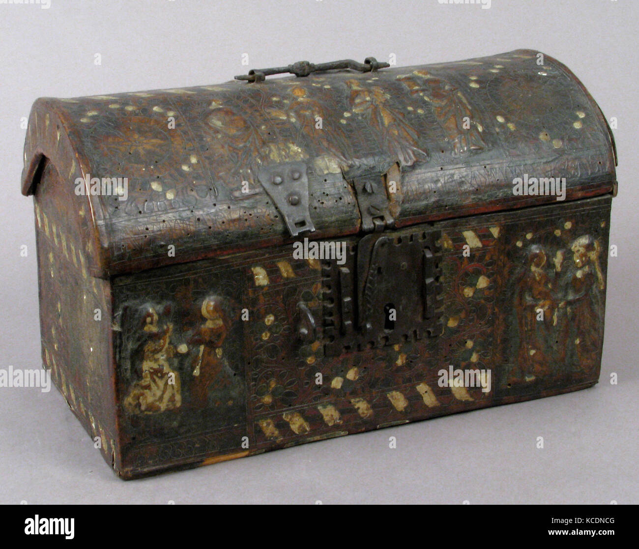 Coffret, 15th century, French, Leather, (stamped and tooled) with polychromy, metal fittings, Overall: 8 3/8 x 13 - Stock Image