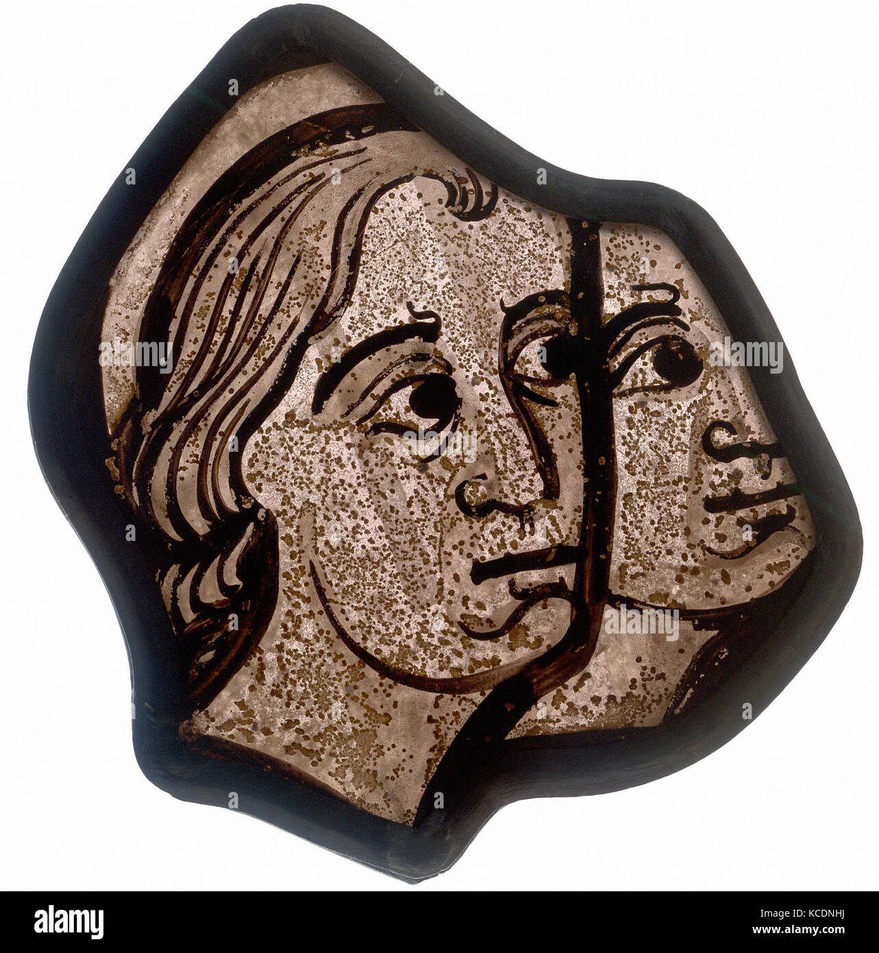 Fragment, 1200–1215, French, Pot-metal glass, vitreous paint, Overall: 3 13/16 x 3 9/16 in. (9.7 x 9 cm), Glass - Stock Image