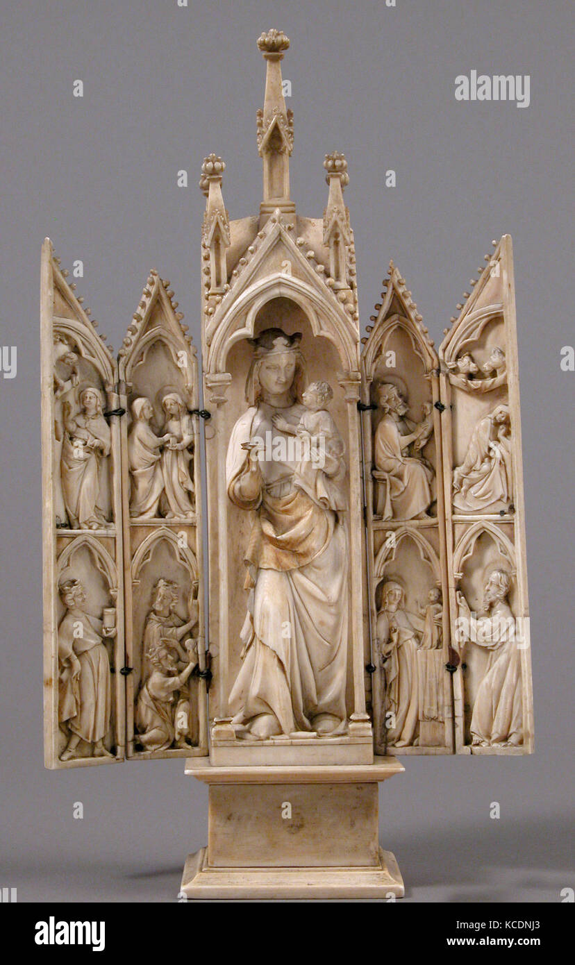 Tabernacle with Scenes from the Infancy of Christ, ca. 1340–50 - Stock Image