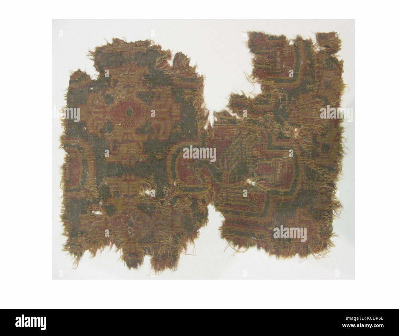 Fragment, 4th–6th century or 9th century, Attributed to probably Egypt, Wool, cotton; samite, L. 15 in. (38.1 cm), - Stock Image