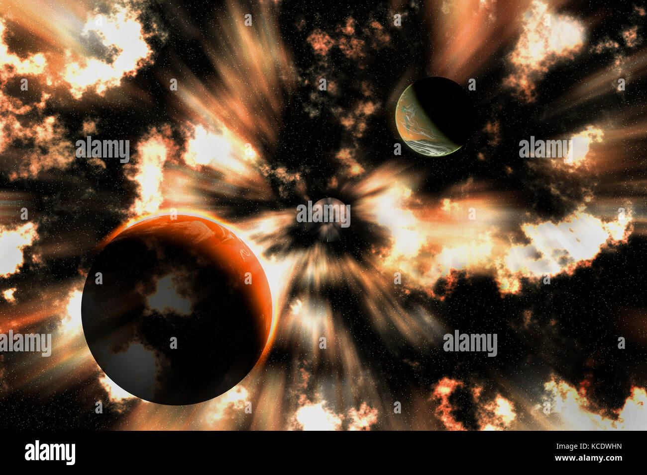 Planets Speeding Towards A Black Hole. - Stock Image