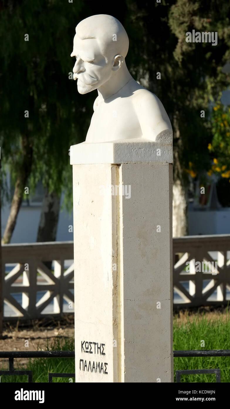 Statue of Greek poet Kostis Palamas in Kostis Palamas Square, Paphos old town (Ktima) Cyprus - Stock Image