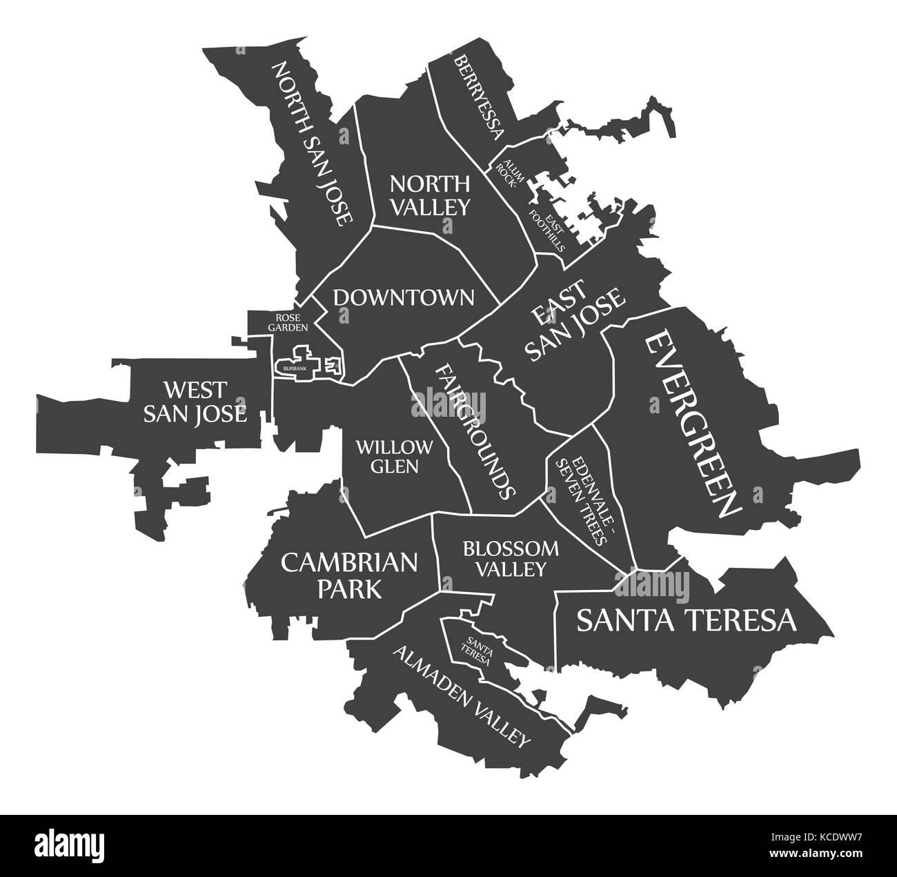 san jose california city map usa labelled black illustration