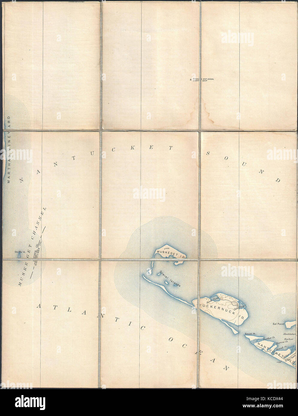 1887, Pocket Map Version of the U.S. Geological Survey Map of western Nantucket, Massachusetts - Stock Image
