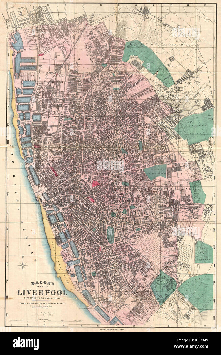 Liverpool On The Map Of England.1890 Bacon Pocket Map Of Liverpool England Stock Photo 162575065