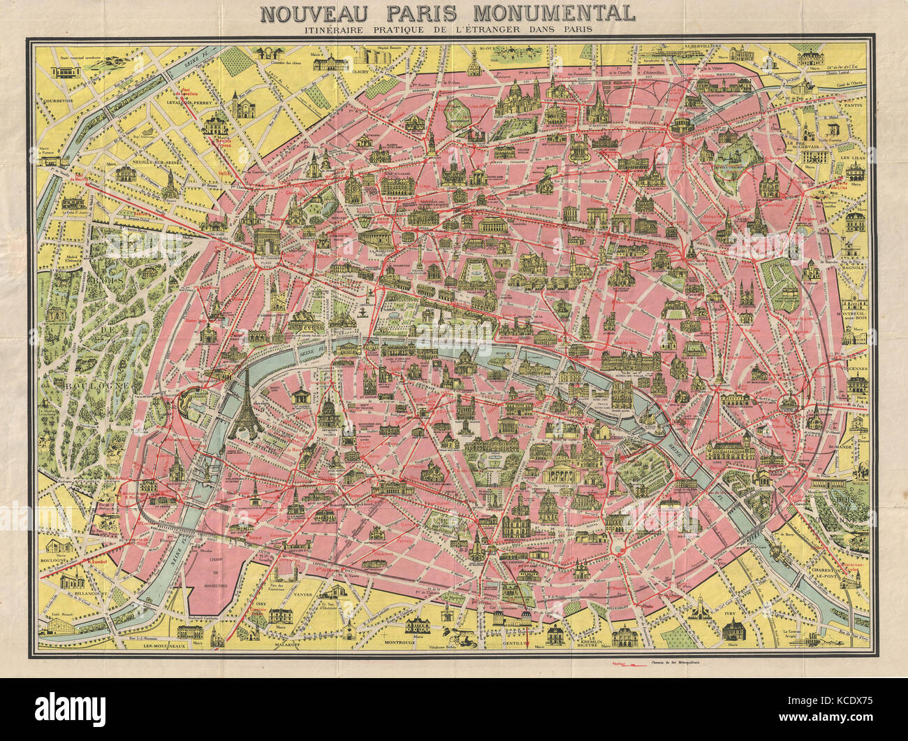 1920 Leconte Pocket Map Of Paris France With Eiffel Tower And