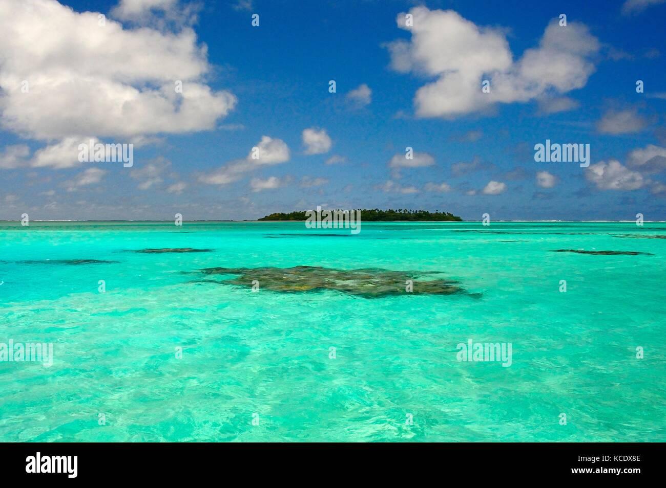 Reef Aitutaki Lagoon - Stock Image