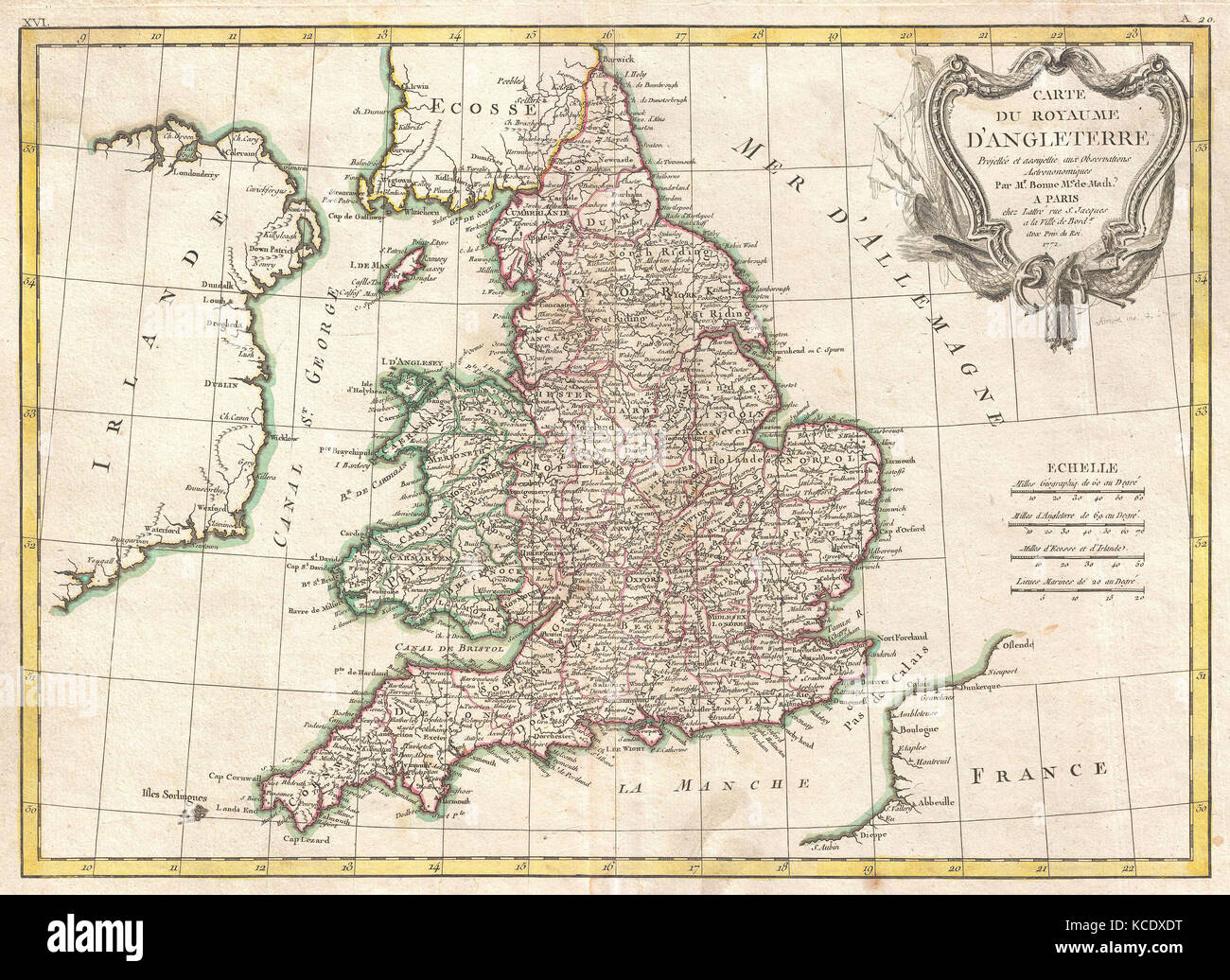 1772, Bonne Map of England and Wales, Rigobert Bonne 1727 – 1794 - Stock Image