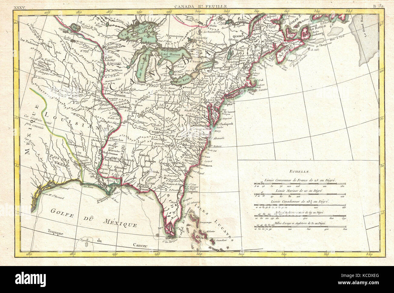 North Louisiana Map.1776 Bonne Map Of Louisiana And The British Colonies In North Stock