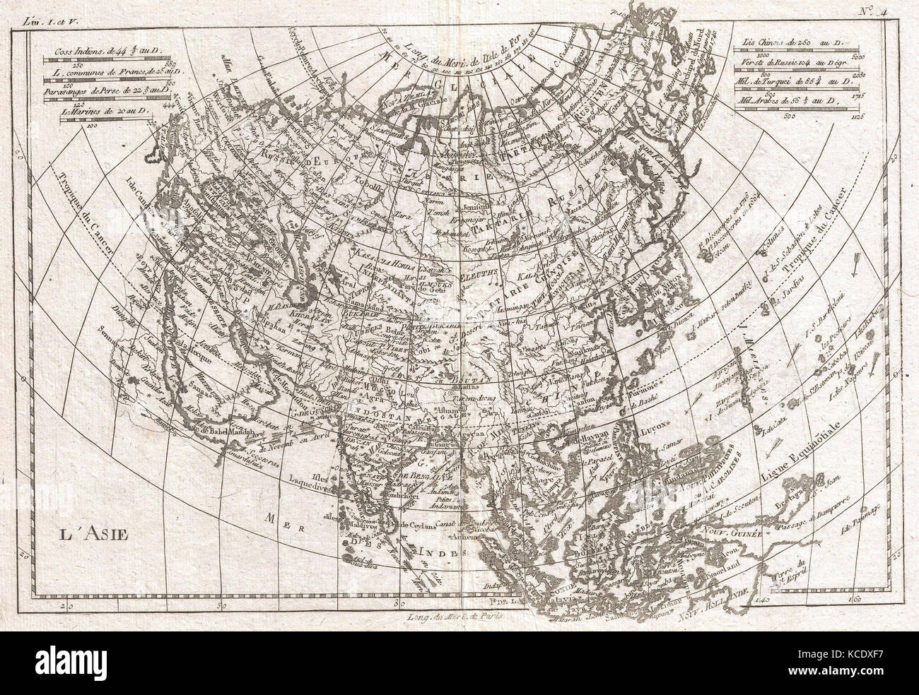 1780, Raynal and Bonne Map of Asia, Rigobert Bonne 1727 – 1794 - Stock Image