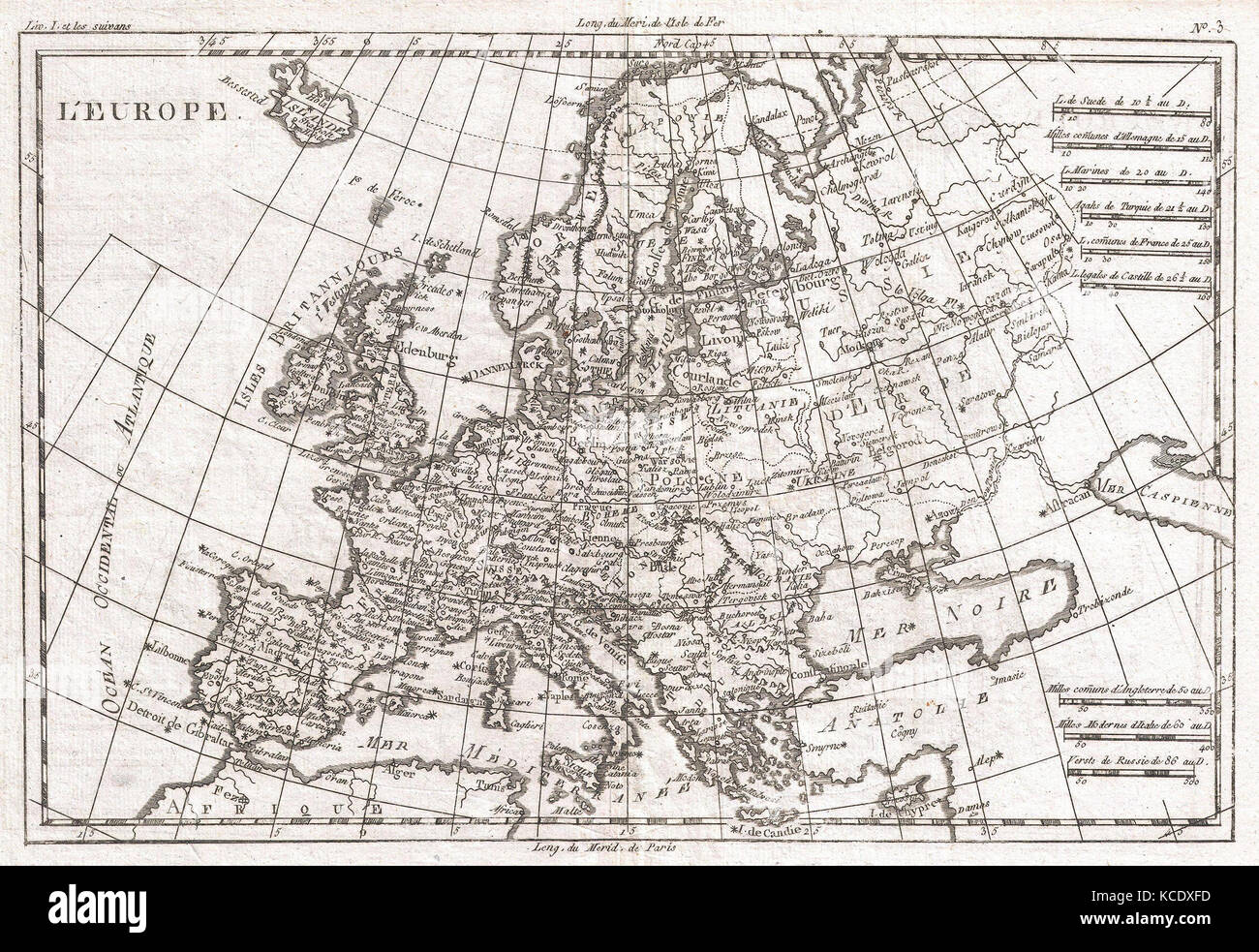 1780, Raynal and Bonne Map of Europe, Rigobert Bonne 1727 – 1794 - Stock Image