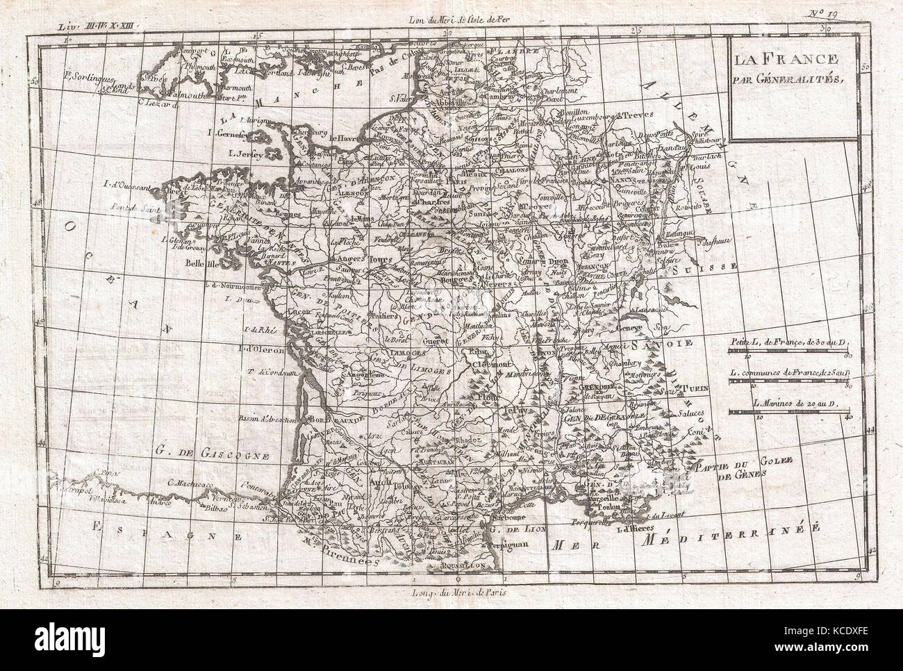 1780, Raynal and Bonne Map of France, Rigobert Bonne 1727 – 1794 - Stock Image